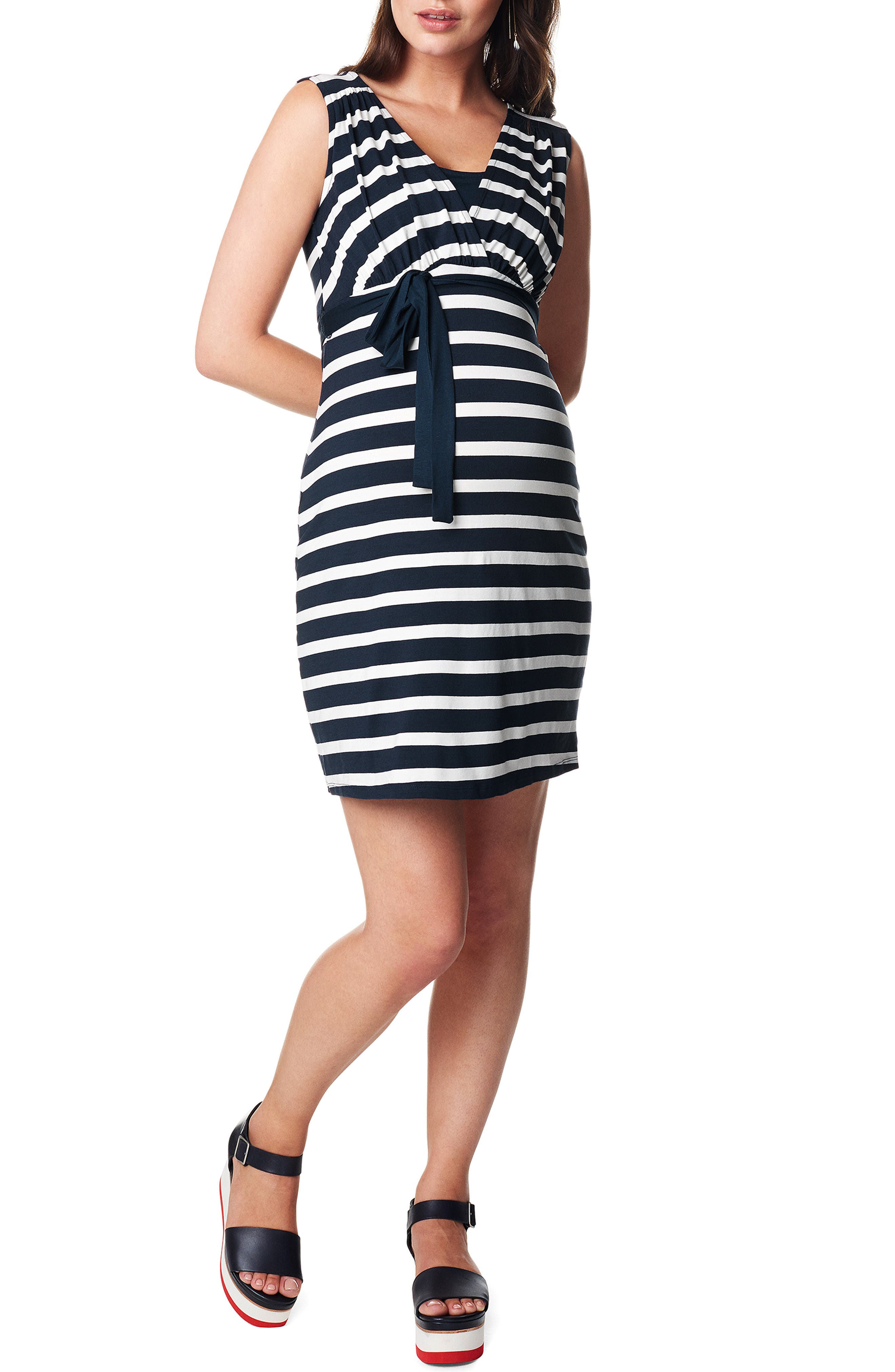 'Lara' Stripe Maternity Dress,                             Alternate thumbnail 5, color,                             DARK BLUE