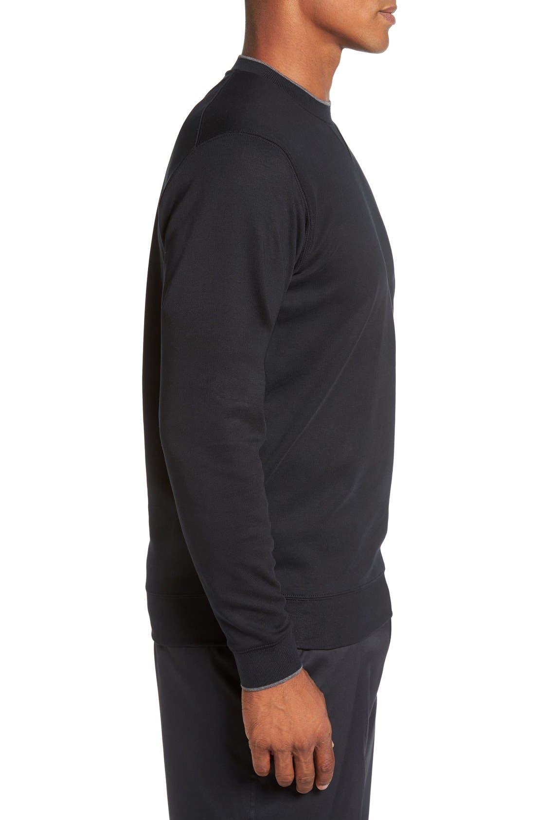 'Walker' Tipped Pima Cotton Long Sleeve T-Shirt,                             Alternate thumbnail 3, color,                             001