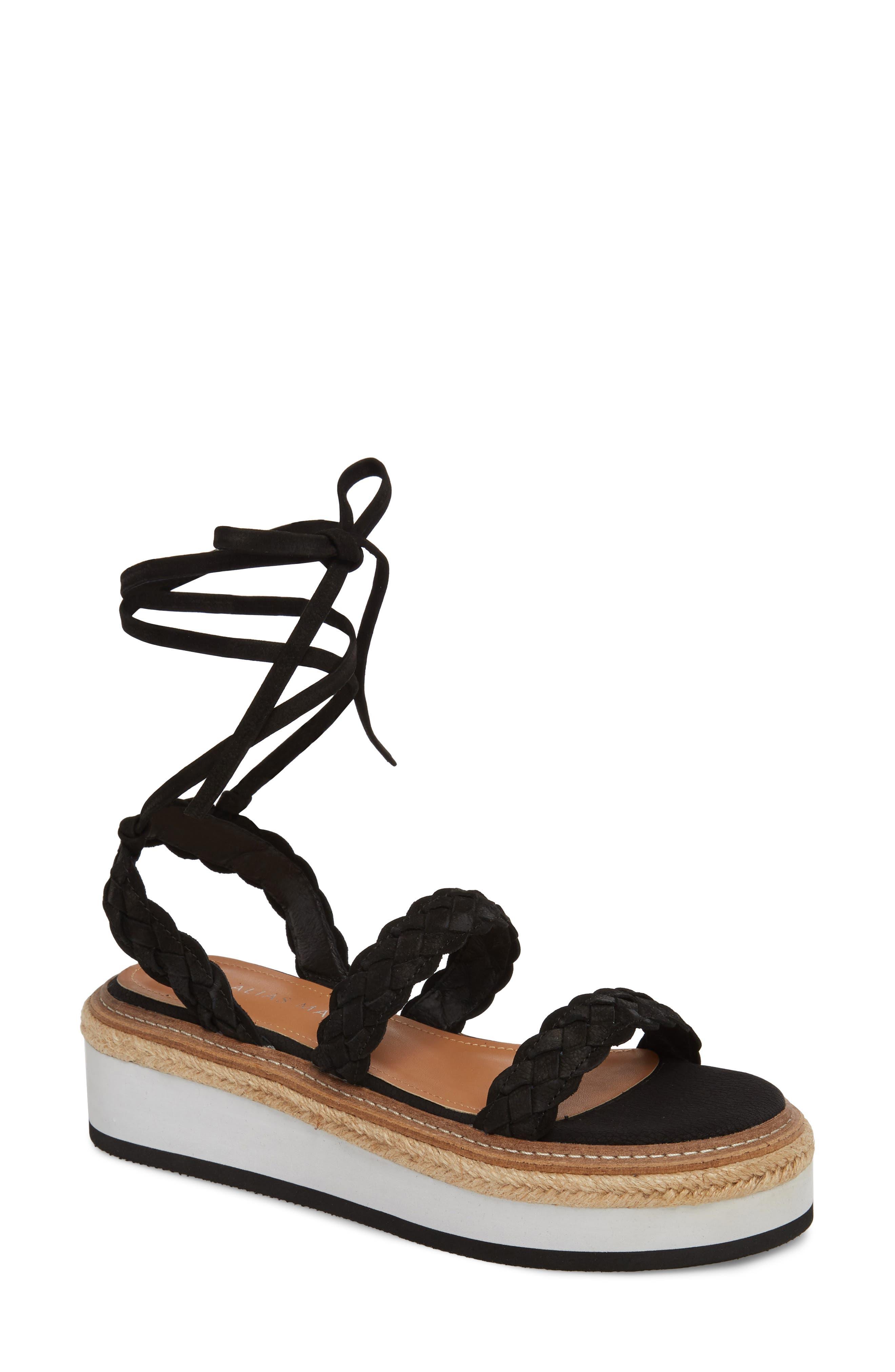 Nieve Braided Platform Sandal,                             Main thumbnail 1, color,                             001