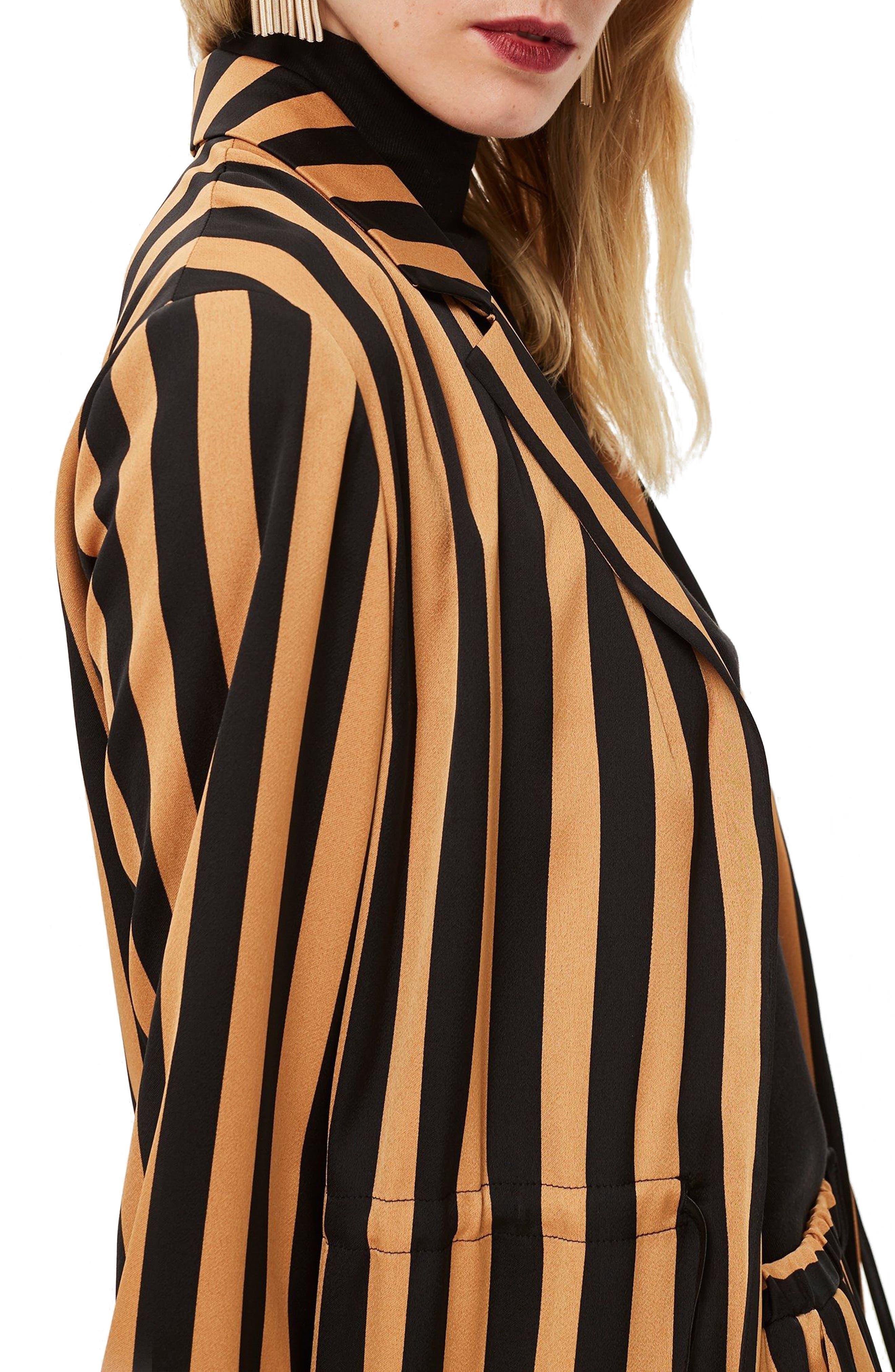 TOPSHOP,                             Stripe Duster Jacket,                             Alternate thumbnail 3, color,                             201