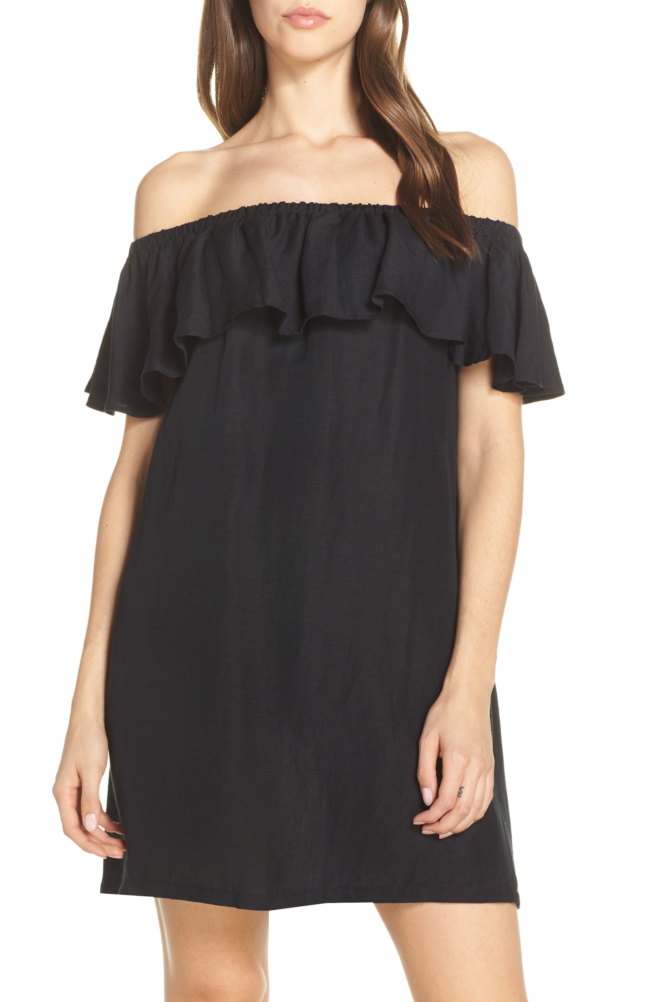 Tommy Bahama Off The Shoulder Cover-Up Dress, Black