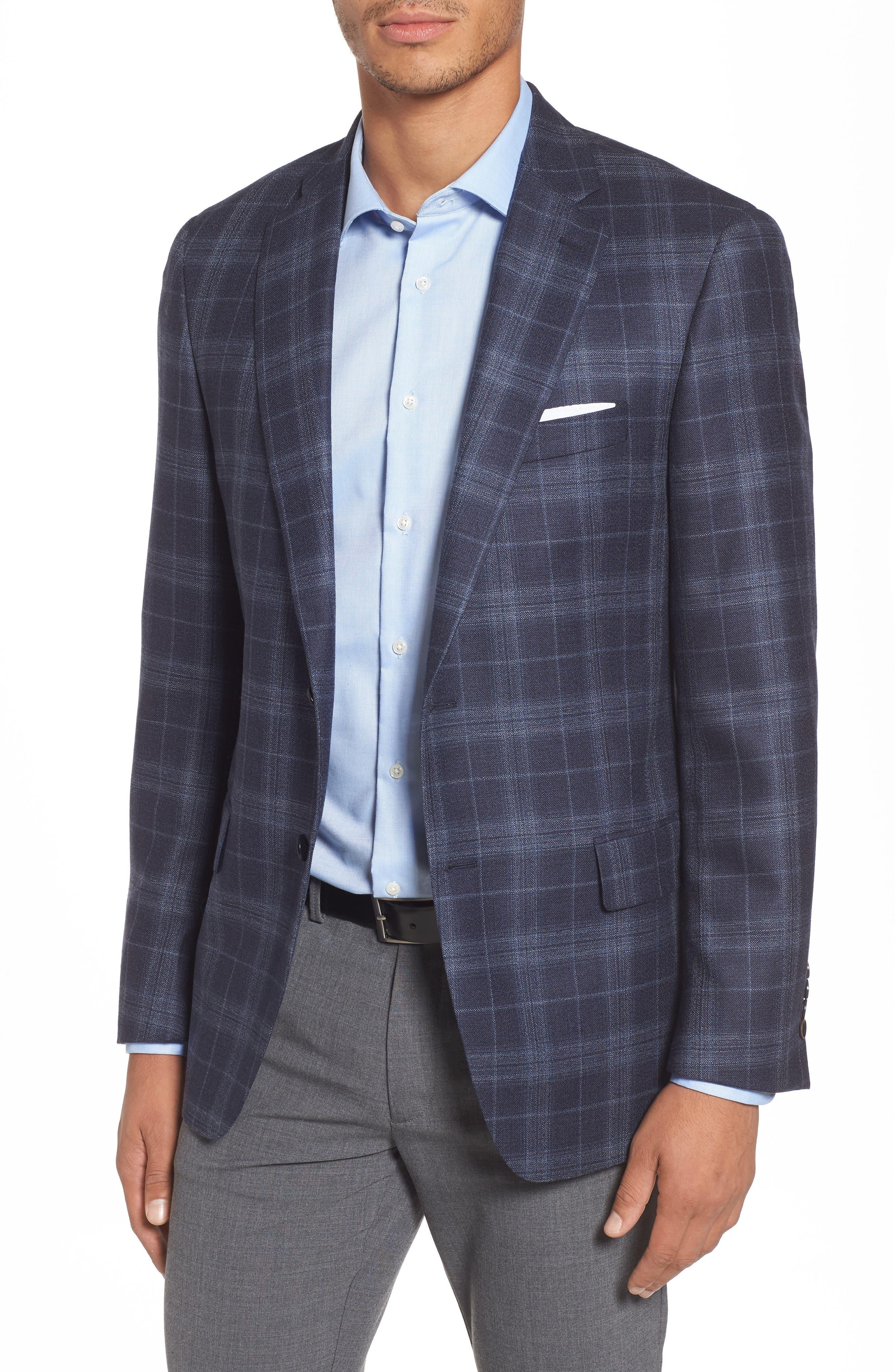 Classic Fit Plaid Wool & Silk Sport Coat,                             Main thumbnail 1, color,                             NAVY