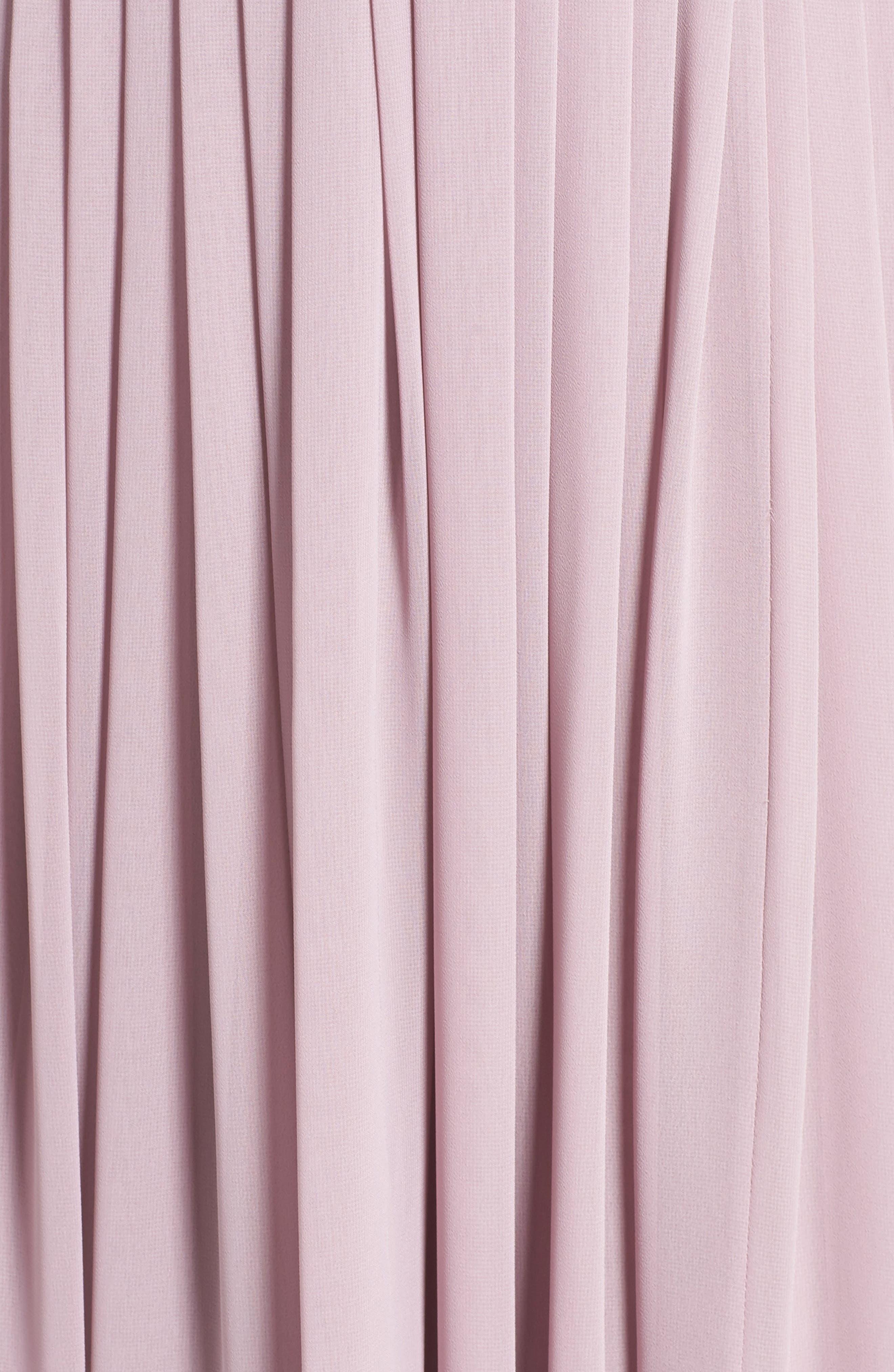 Deep V-Neck Ruffle Pleat Chiffon Gown,                             Alternate thumbnail 28, color,