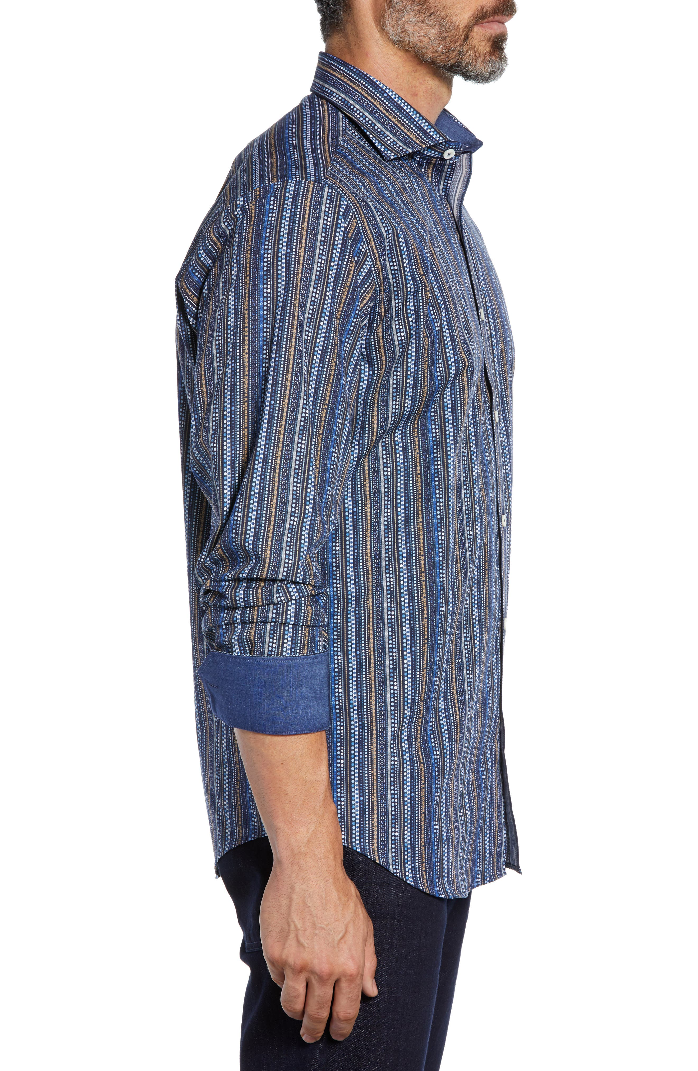 Classic Fit Print Stripe Sport Shirt,                             Alternate thumbnail 4, color,                             NAVY