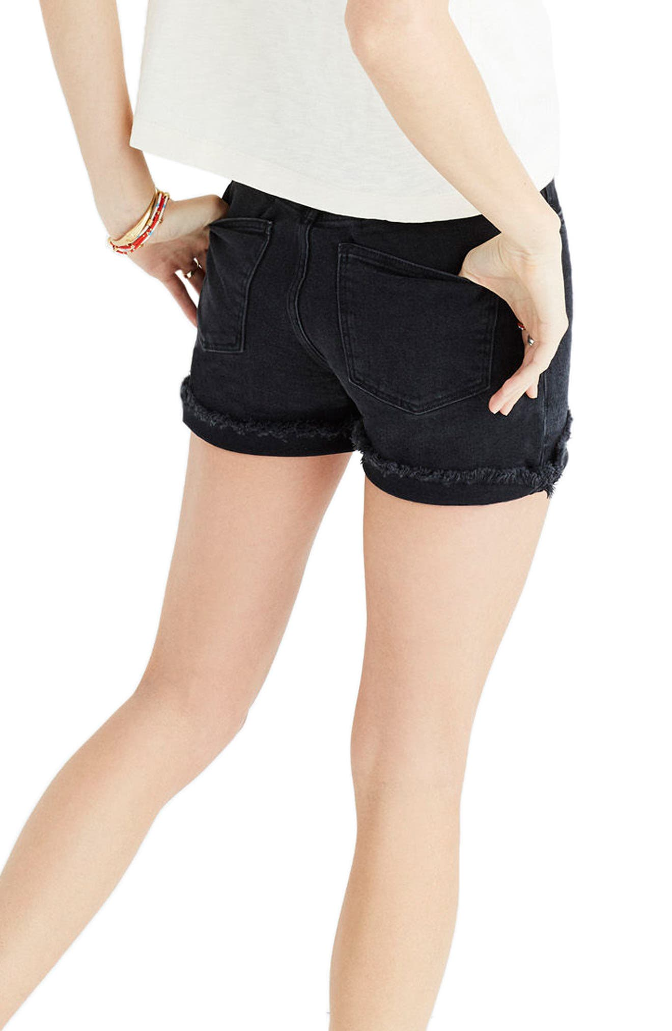 High Rise Denim Shorts,                             Alternate thumbnail 2, color,                             001