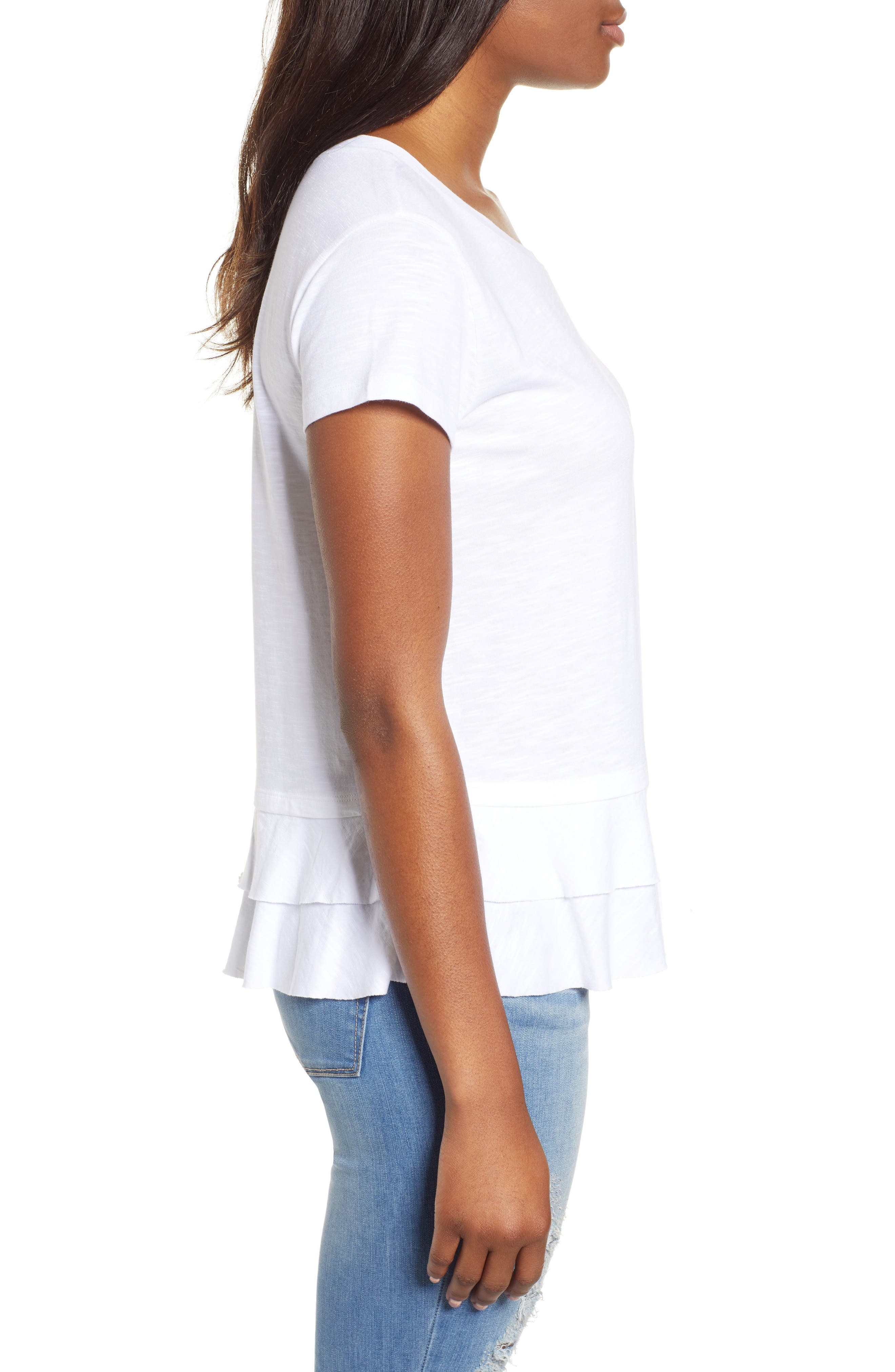 CASLON<SUP>®</SUP>,                             Tiered Short Sleeve Tee,                             Alternate thumbnail 3, color,                             WHITE