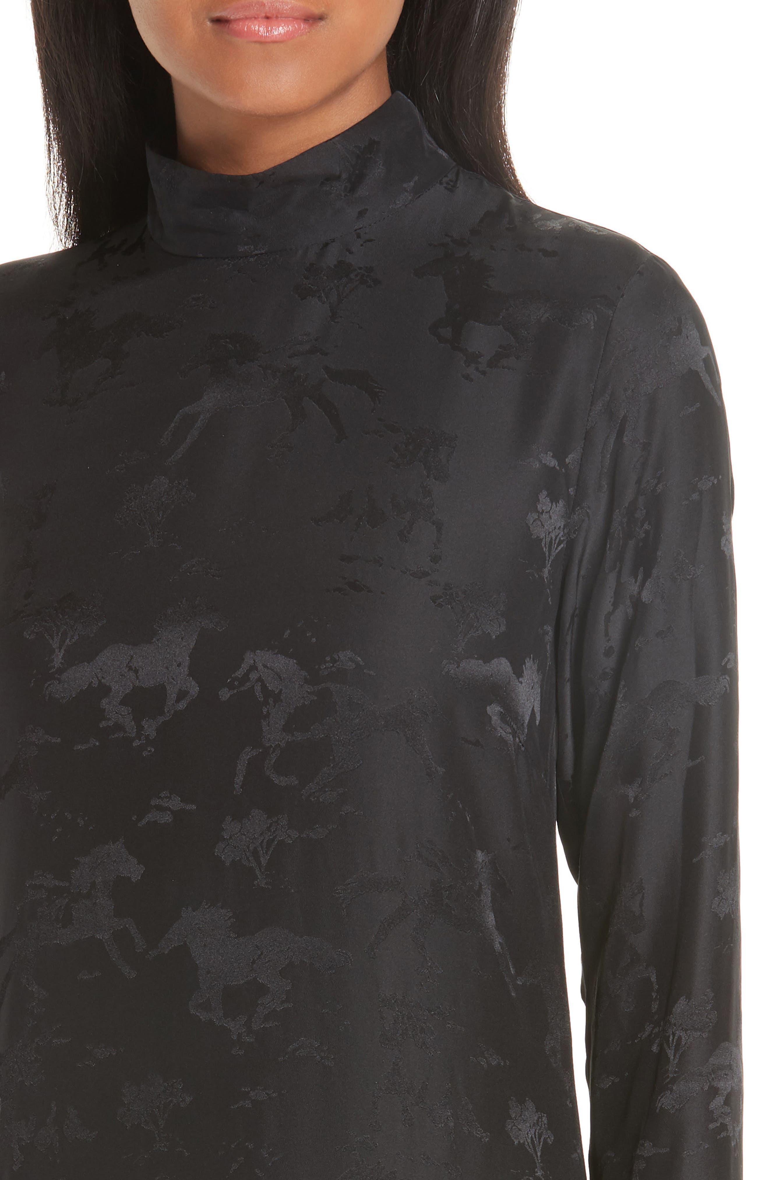 Silk Jacquard Dress,                             Alternate thumbnail 4, color,                             BLACK 099