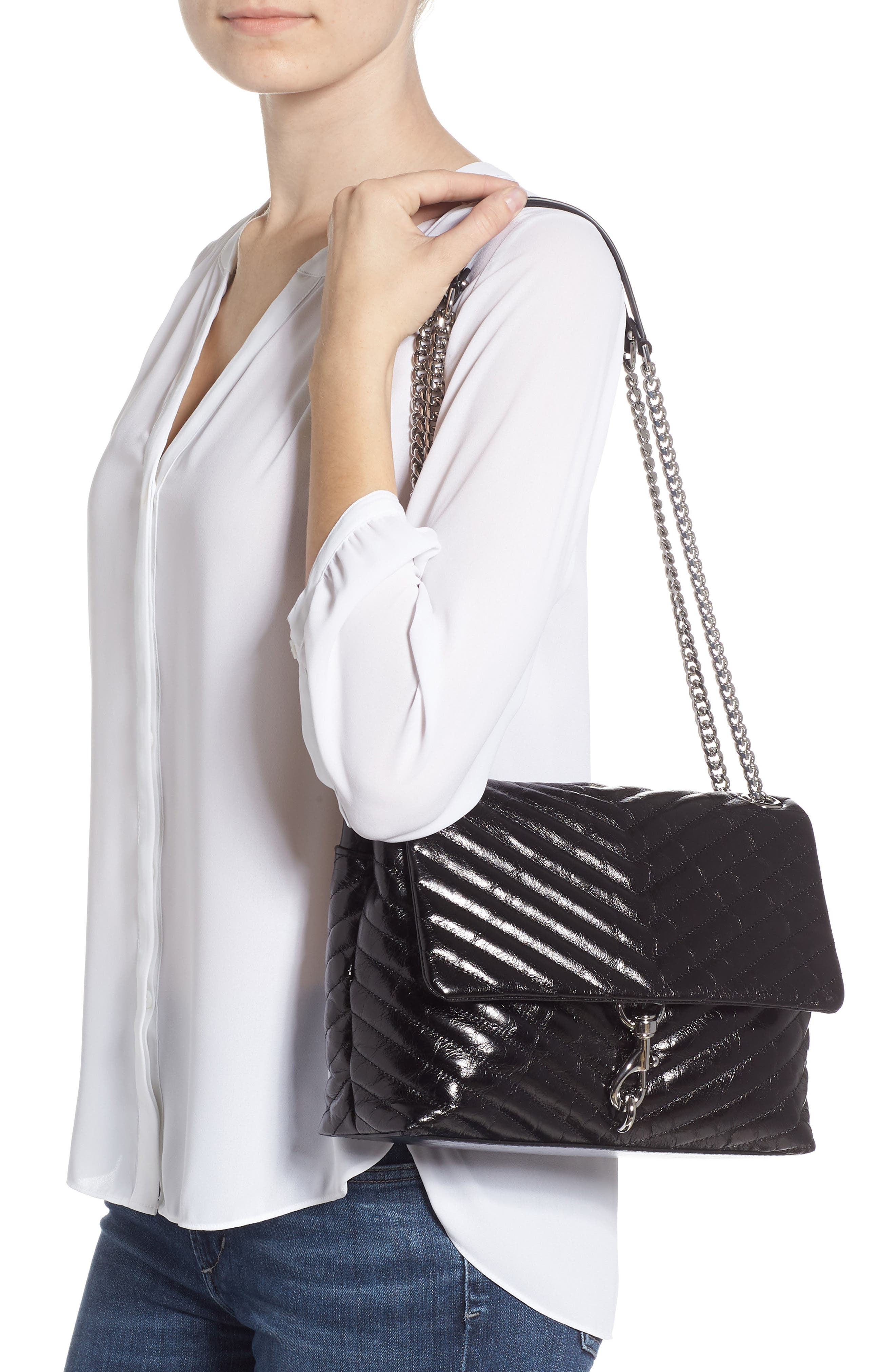 Edie Flap Front Leather Shoulder Bag,                             Alternate thumbnail 2, color,                             BLACK