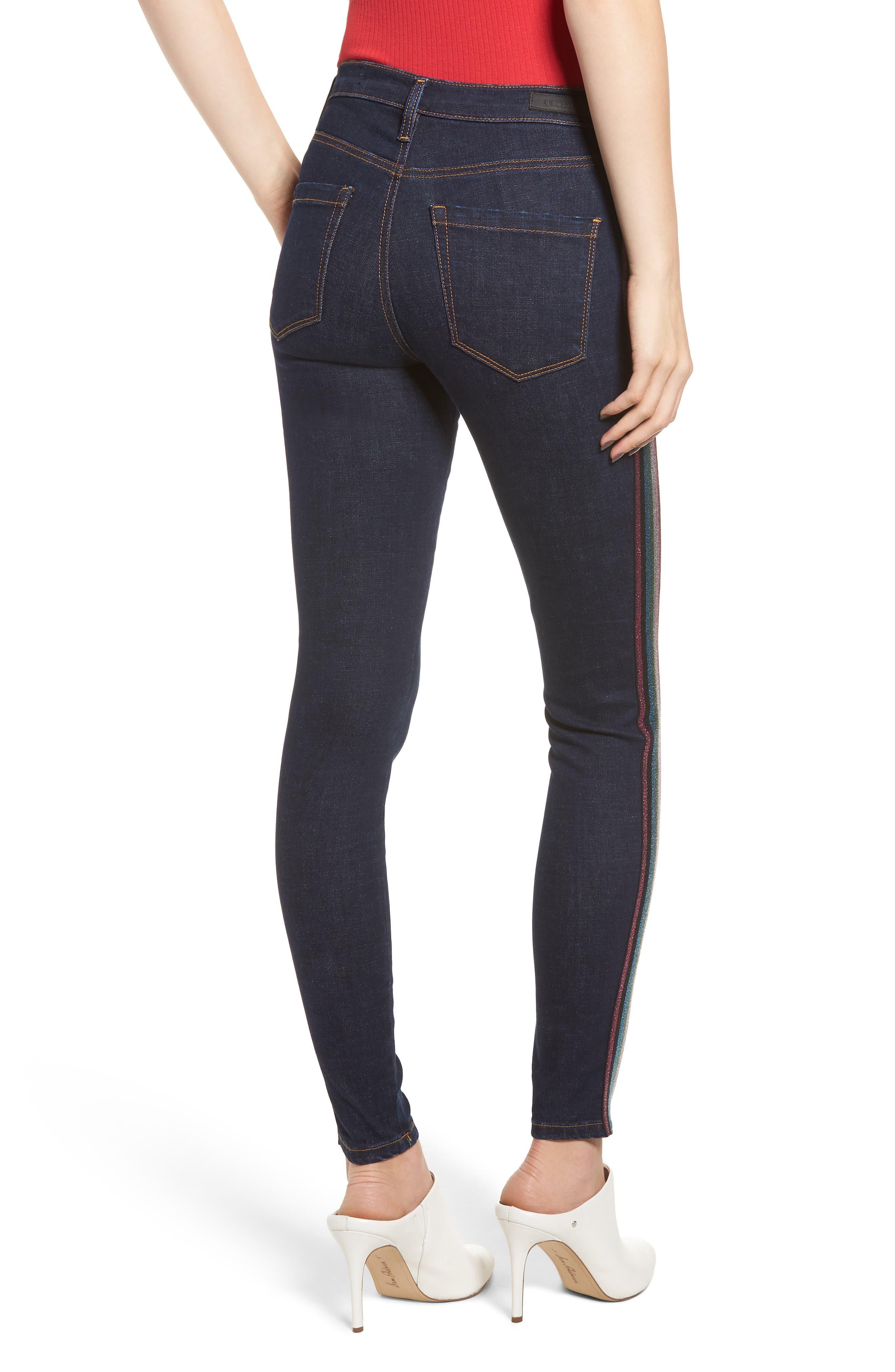 The Bond Metallic Side Stripe Skinny Jeans,                             Alternate thumbnail 2, color,                             400