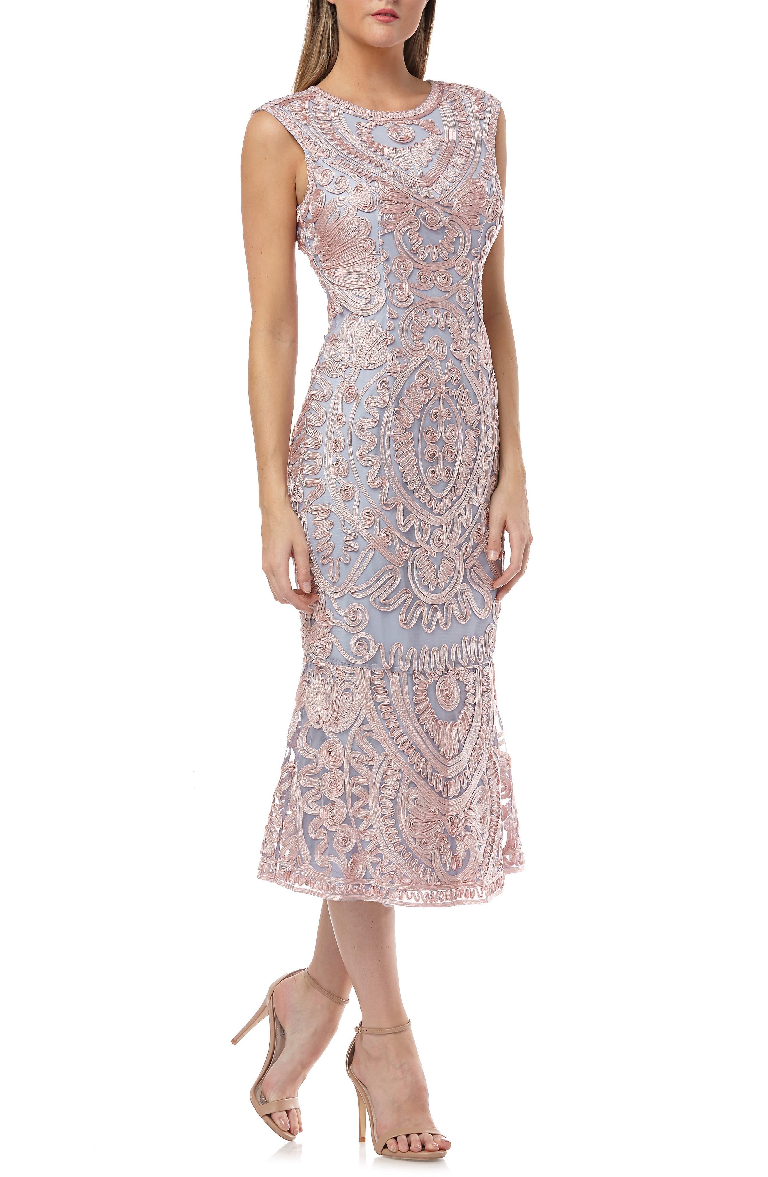 Vintage Cocktail Dresses, Party Dresses, Prom Dresses Womens Js Collections Soutache Mesh Dress Size 16 - Pink $260.00 AT vintagedancer.com