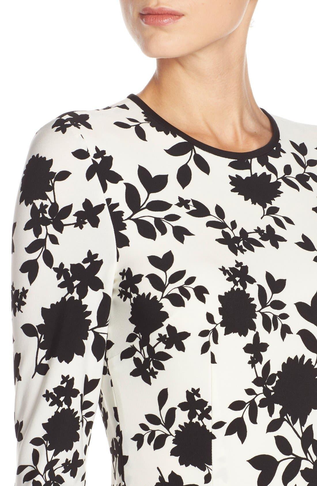 Floral Print Jersey Midi Dress,                             Alternate thumbnail 3, color,                             005