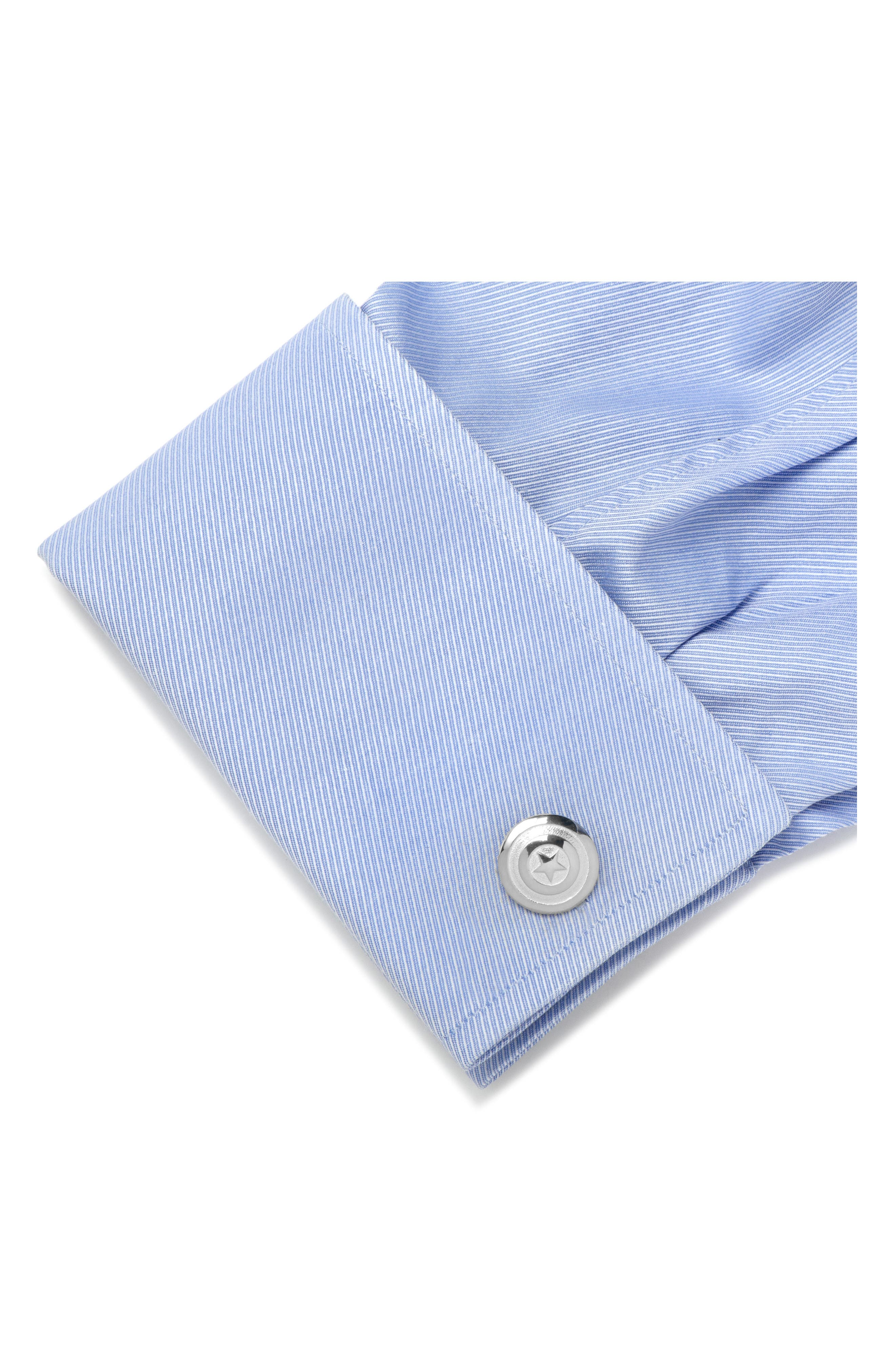 Captain America Cuff Links,                             Alternate thumbnail 2, color,                             SILVER