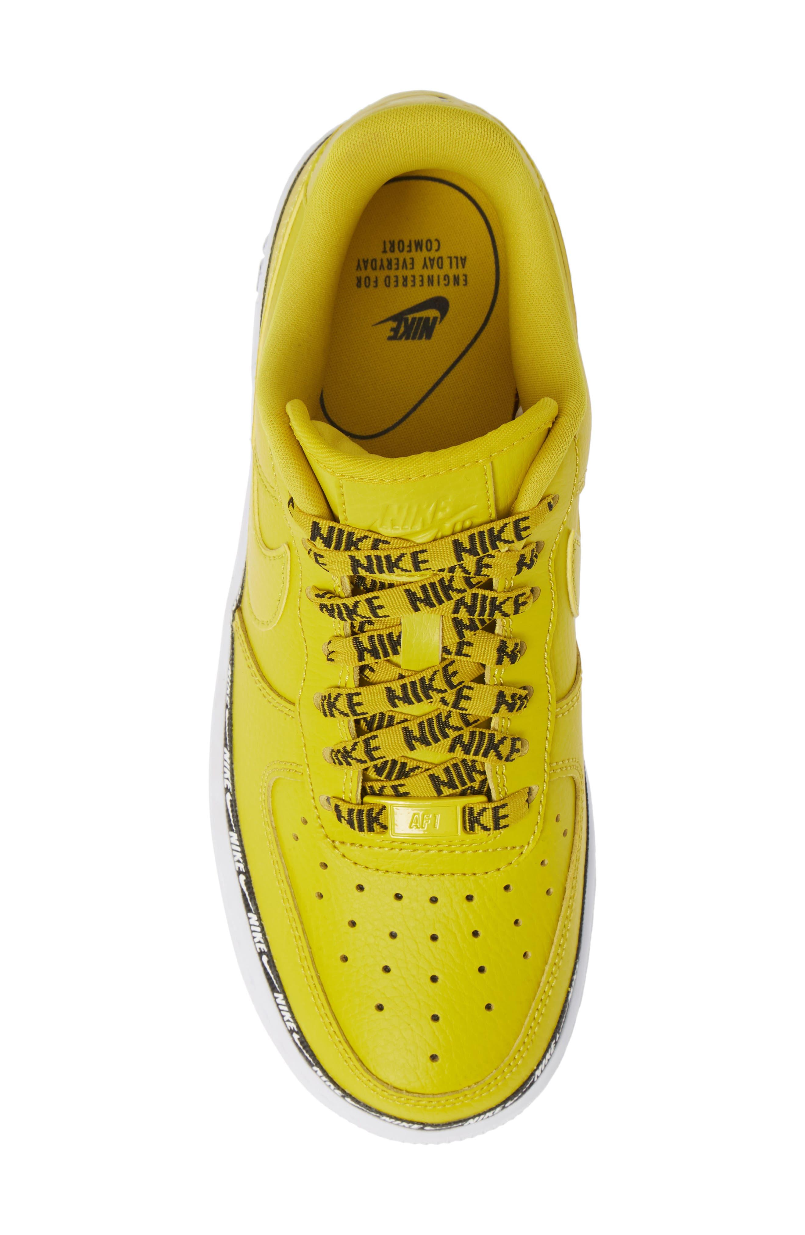 Air Force 1 '07 SE Premium Sneaker,                             Alternate thumbnail 5, color,                             BRIGHT CITRON/ BLACK/ WHITE