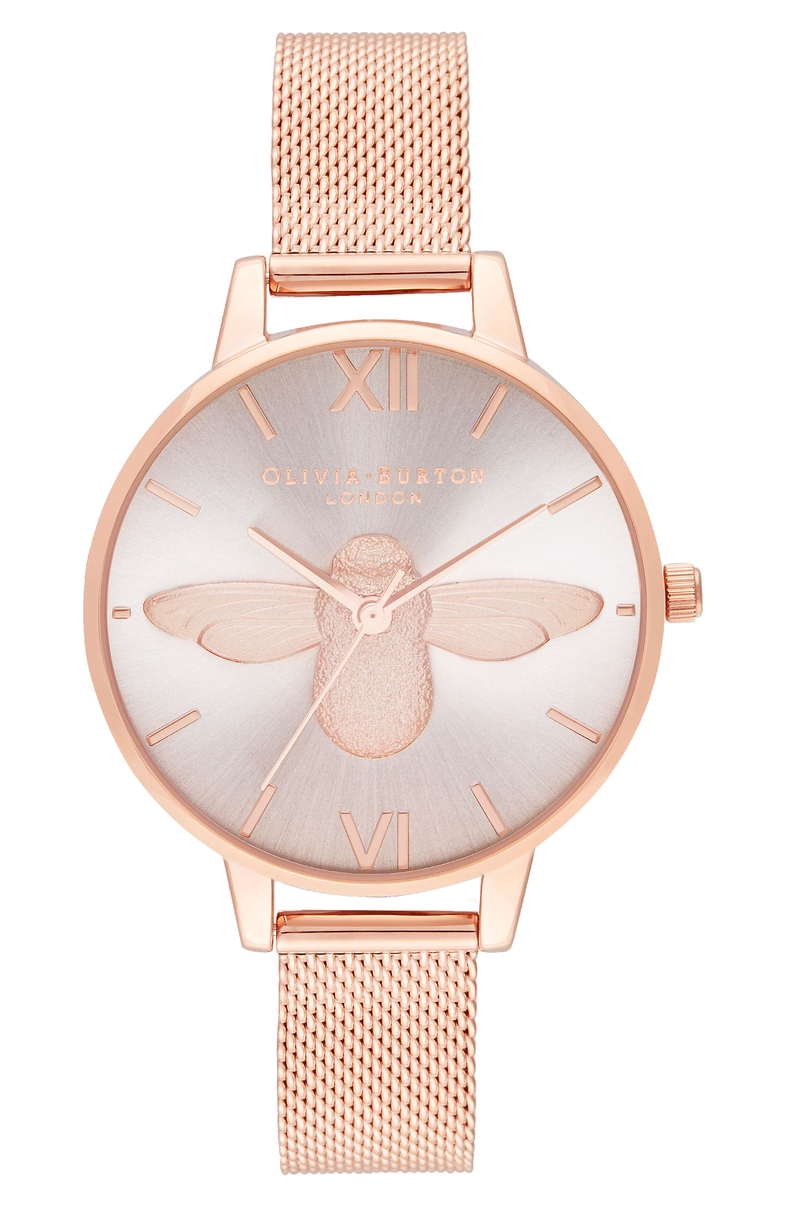 3D Bee Mesh Strap Watch, 34mm, Main, color, ROSE GOLD/SUNRAY/ ROSE GOLD
