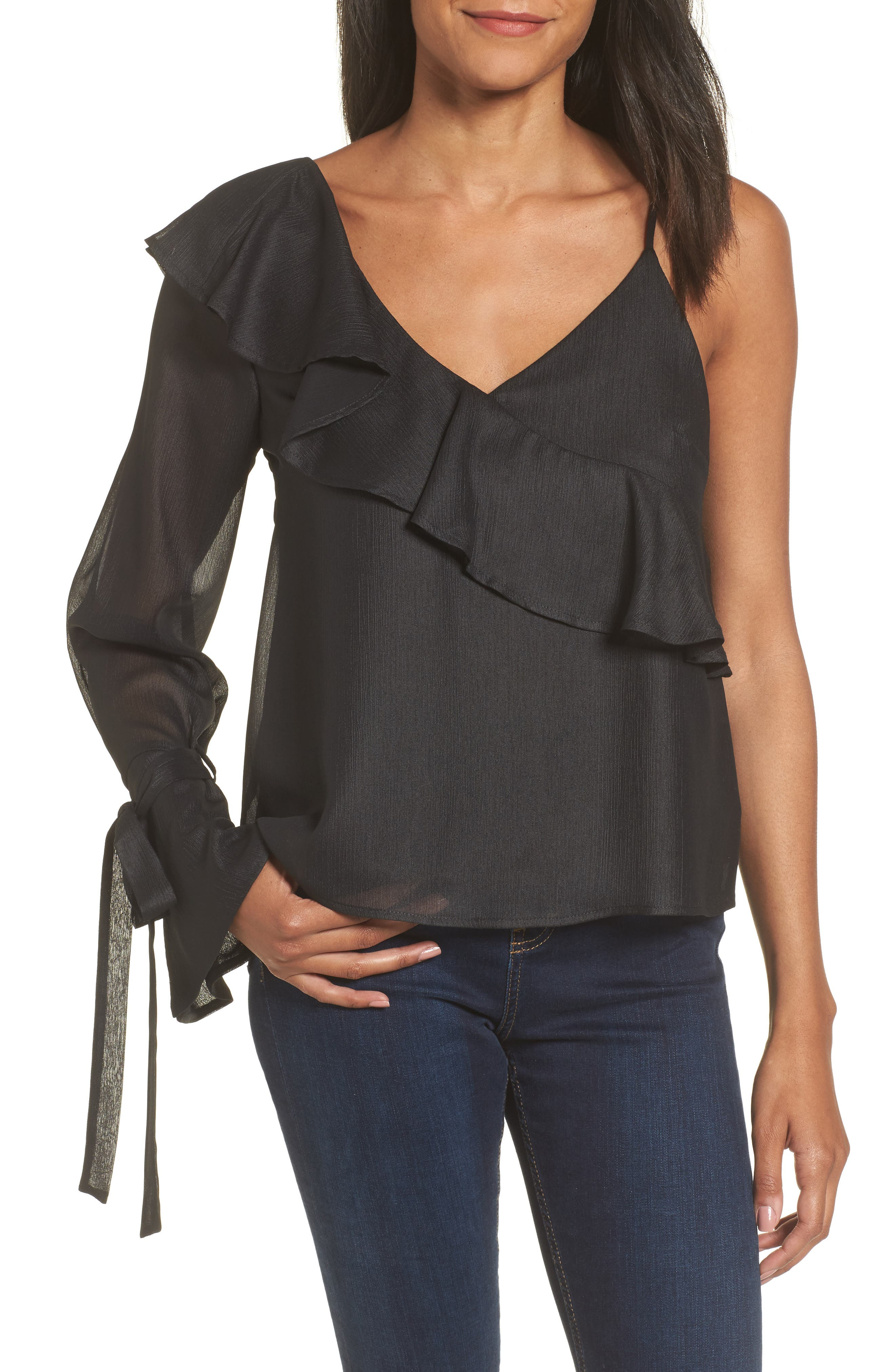 Ruffle One-Shoulder Blouse,                         Main,                         color, 001