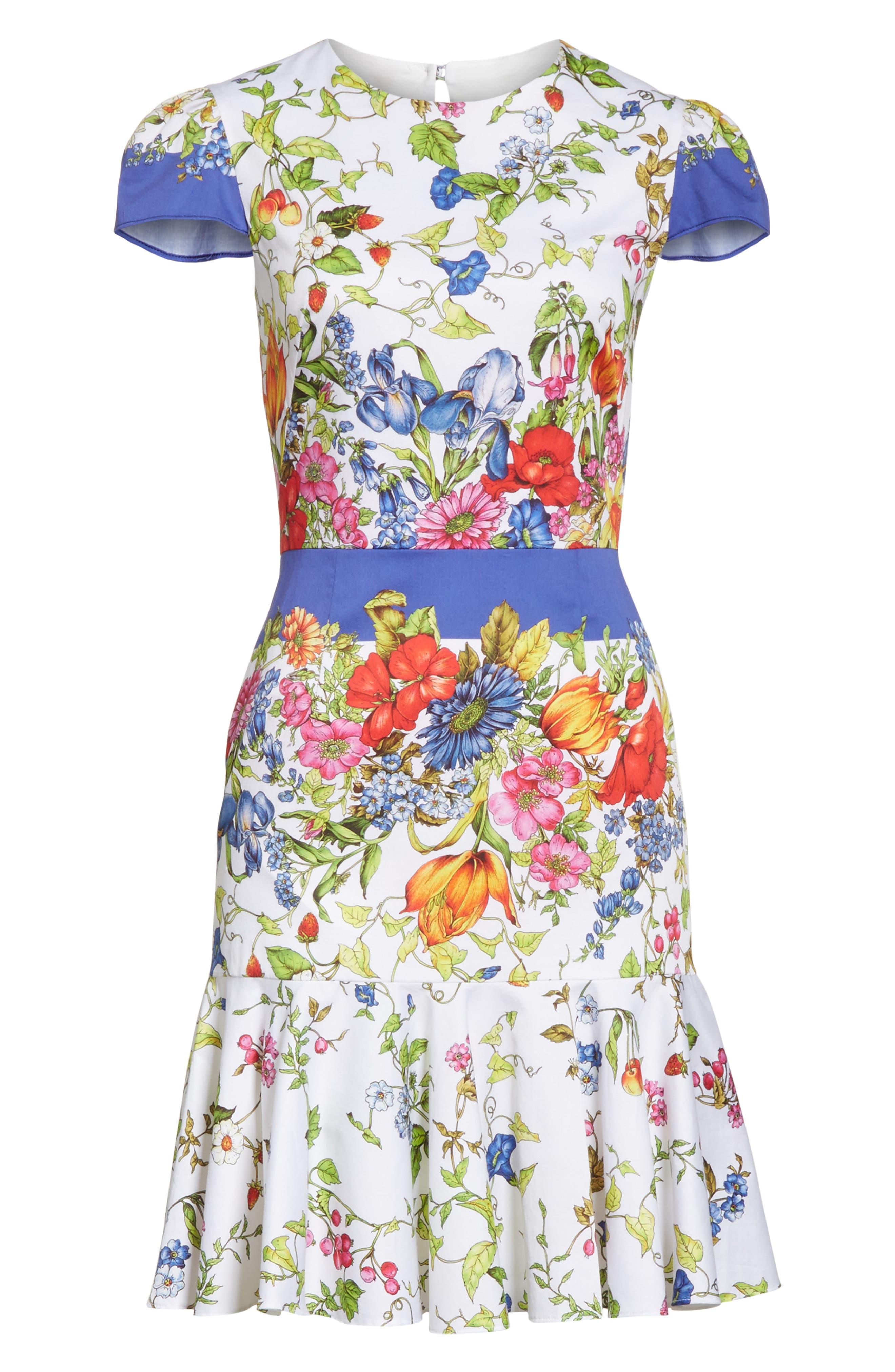 Karissa Floral Stretch Cotton Dress,                             Alternate thumbnail 6, color,                             164