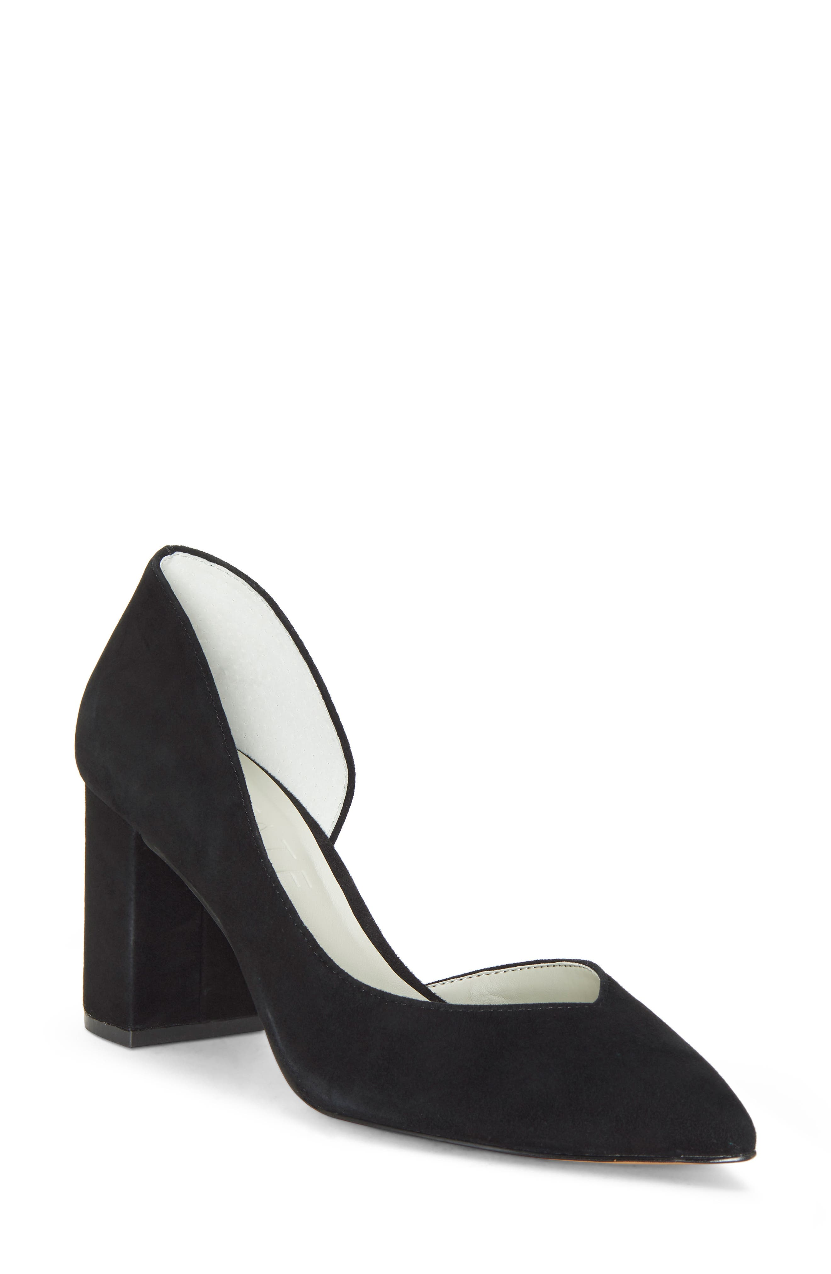 Sisteen Half d'Orsay Pump,                             Main thumbnail 1, color,                             BLACK SUEDE