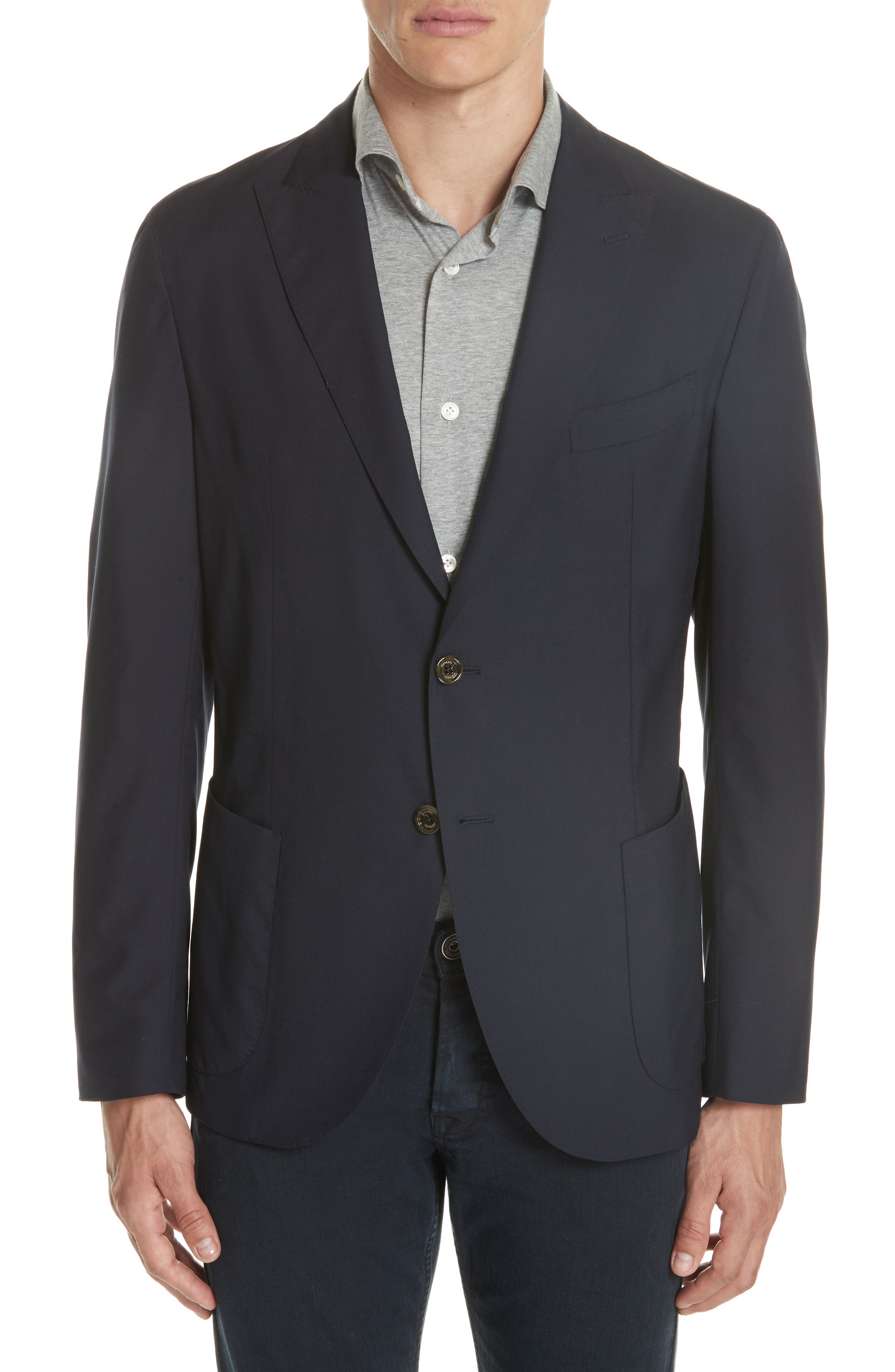 Trim Fit Wool Blazer,                         Main,                         color, 400