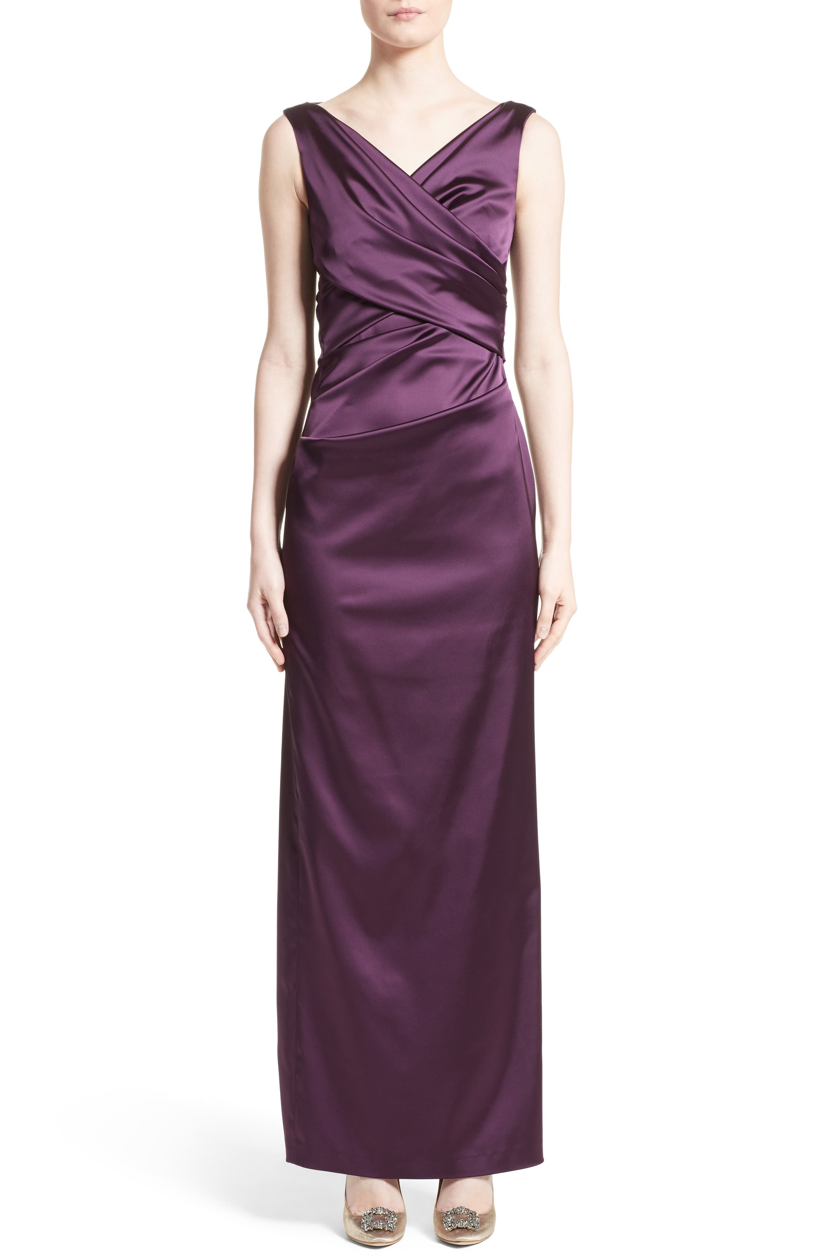 V-Neck Ruched Stretch Satin Column Gown,                             Main thumbnail 1, color,