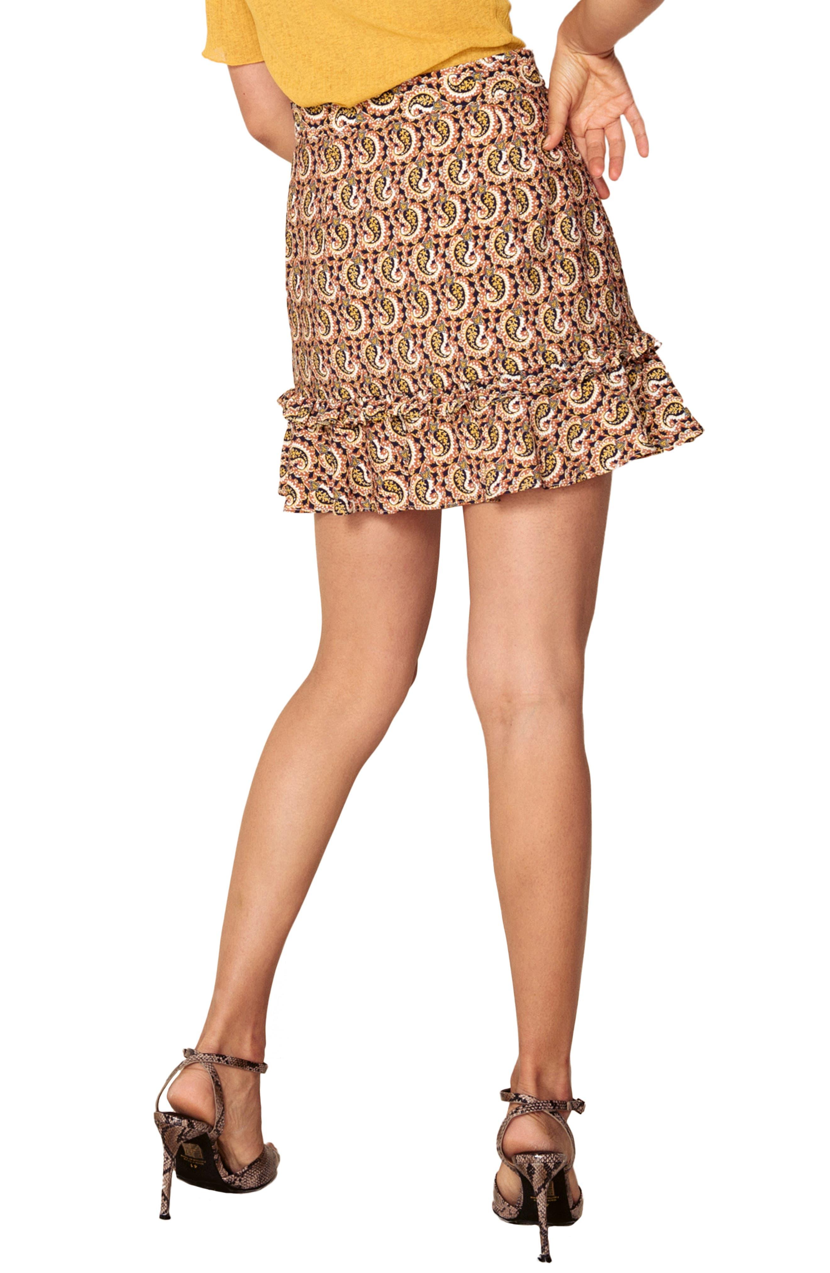 Alix Paisley Skirt,                             Alternate thumbnail 2, color,                             OCHRE IDOL