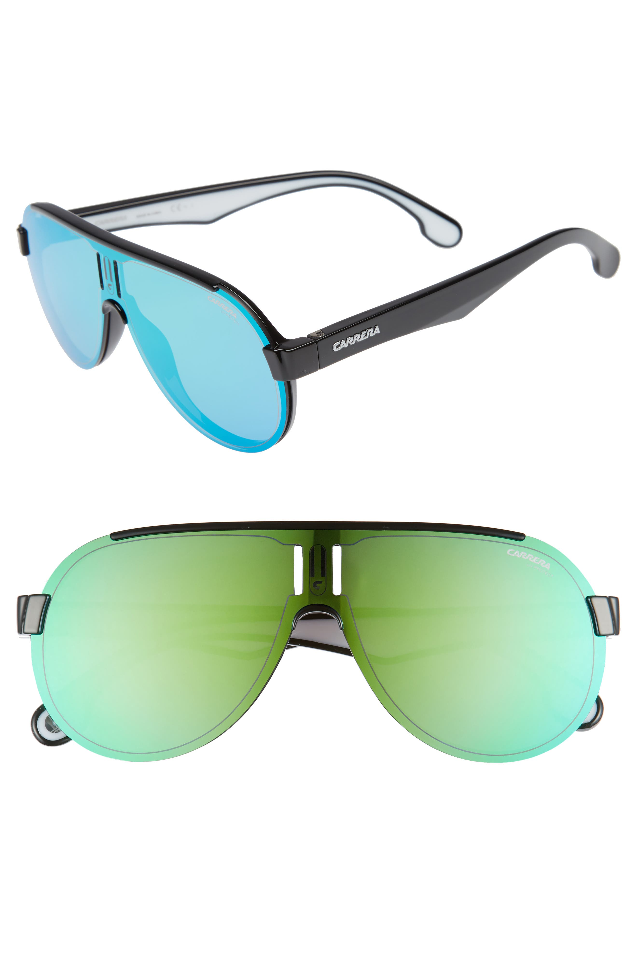 CARRERA EYEWEAR,                             99mm Shield Sunglasses,                             Main thumbnail 1, color,                             BLACK/ GREEN