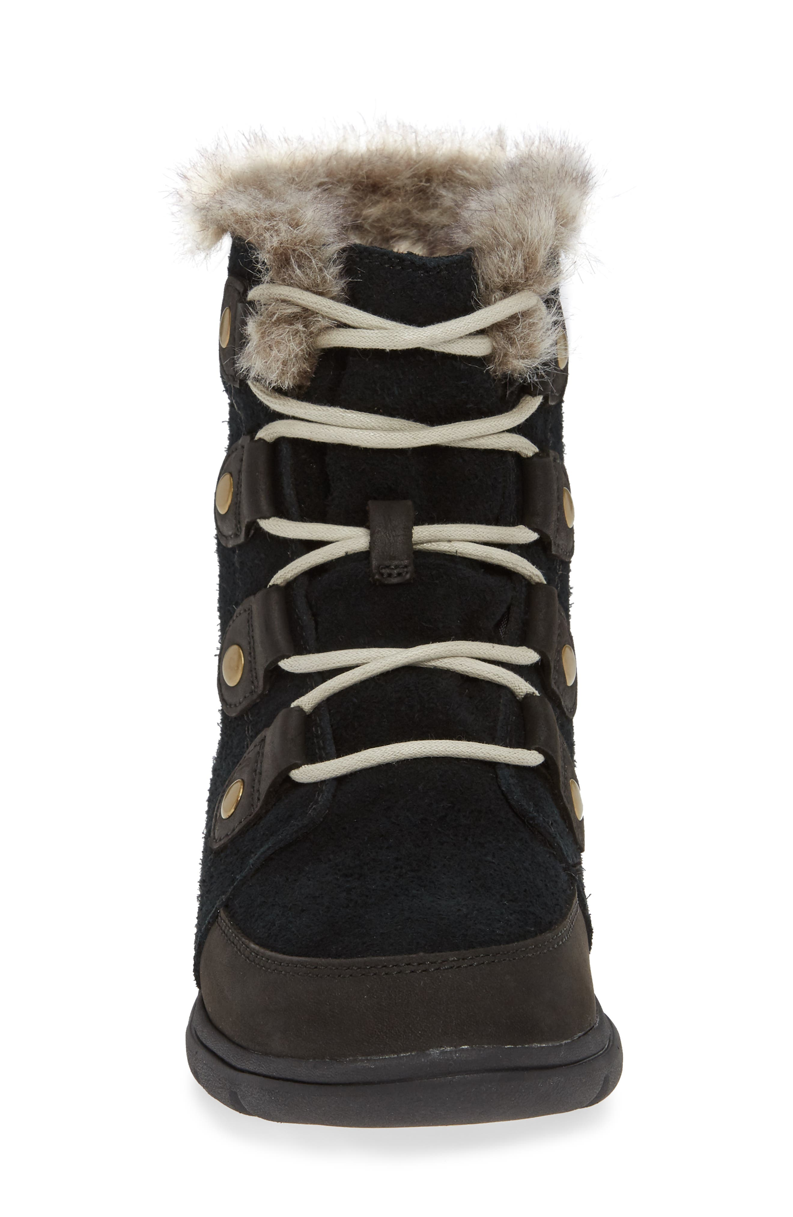 Explorer Joan Waterproof Boot with Faux Fur Collar,                             Alternate thumbnail 4, color,                             BLACK/ DARK STONE