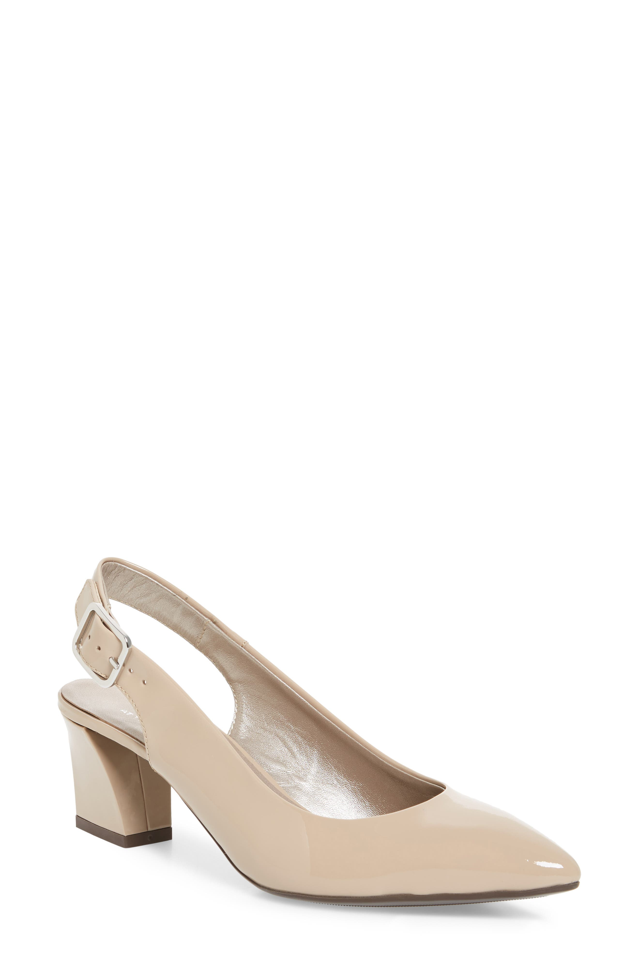 Block Heel Slingback Pump,                             Main thumbnail 1, color,                             MARBLE LEATHER