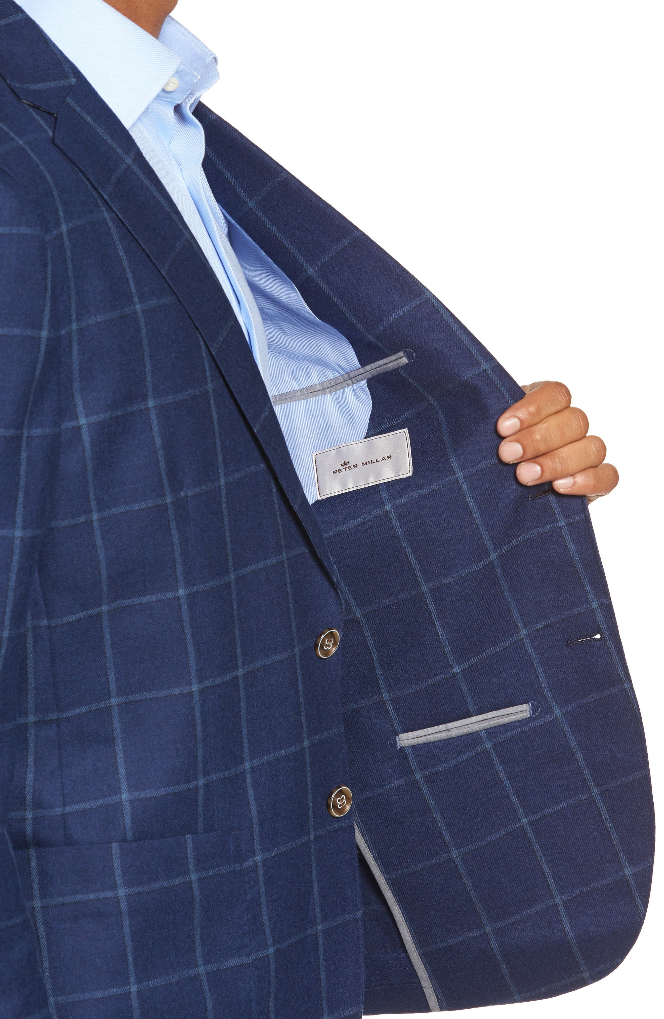 Windowpane Wool Blazer,                             Alternate thumbnail 4, color,
