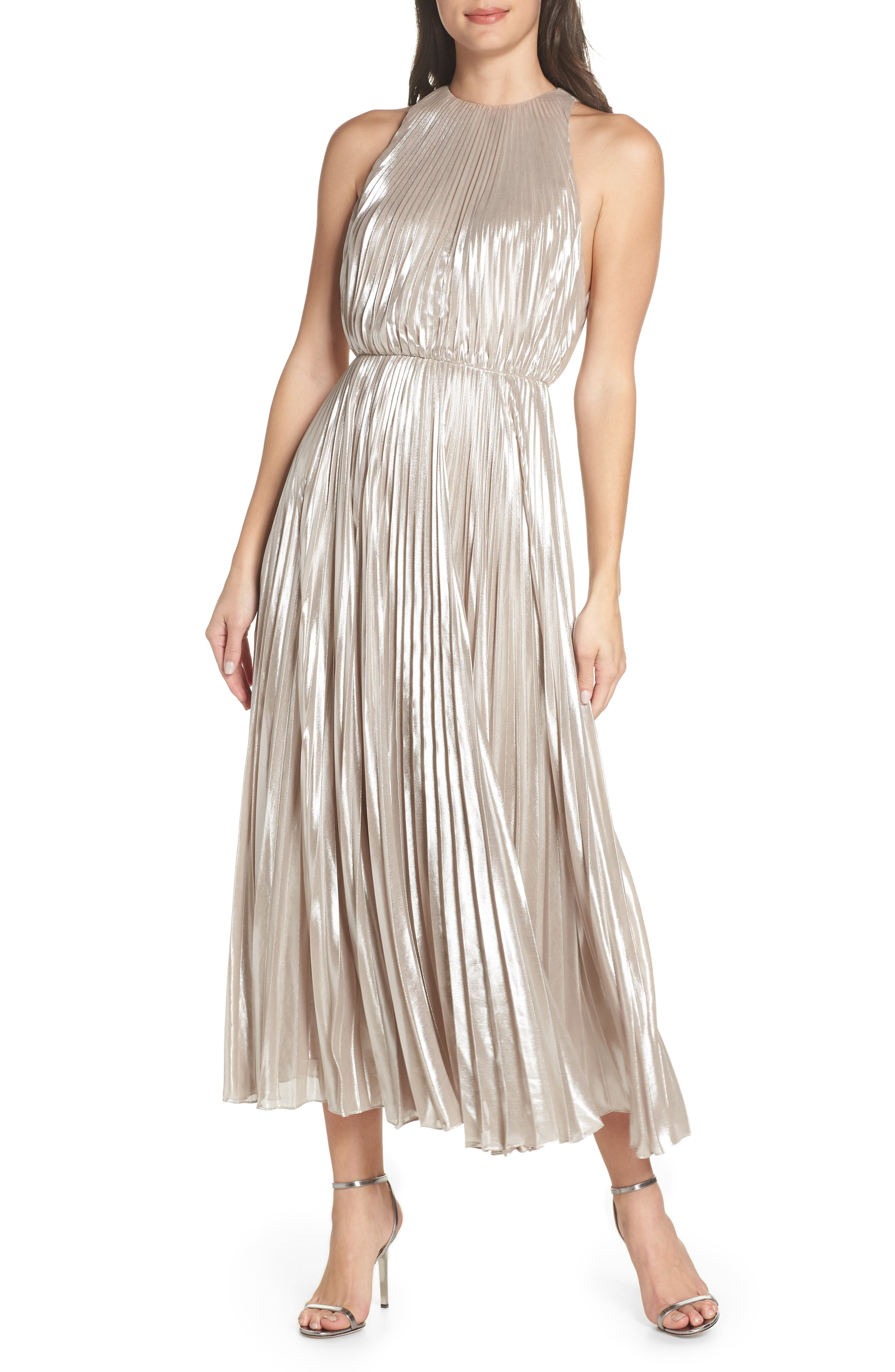 Ashley Metallic Pleated Gown in Champagne