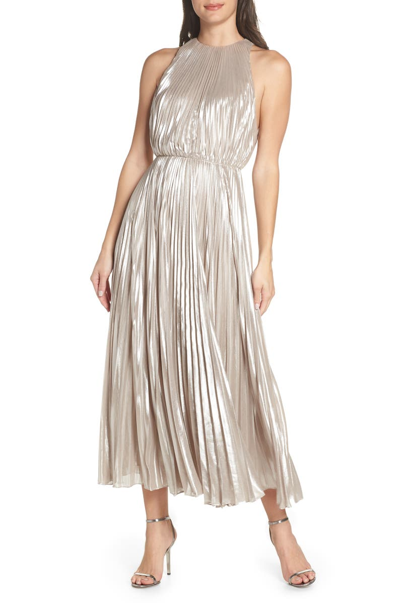 Jill Jill Stuart PLEATED METALLIC DRESS