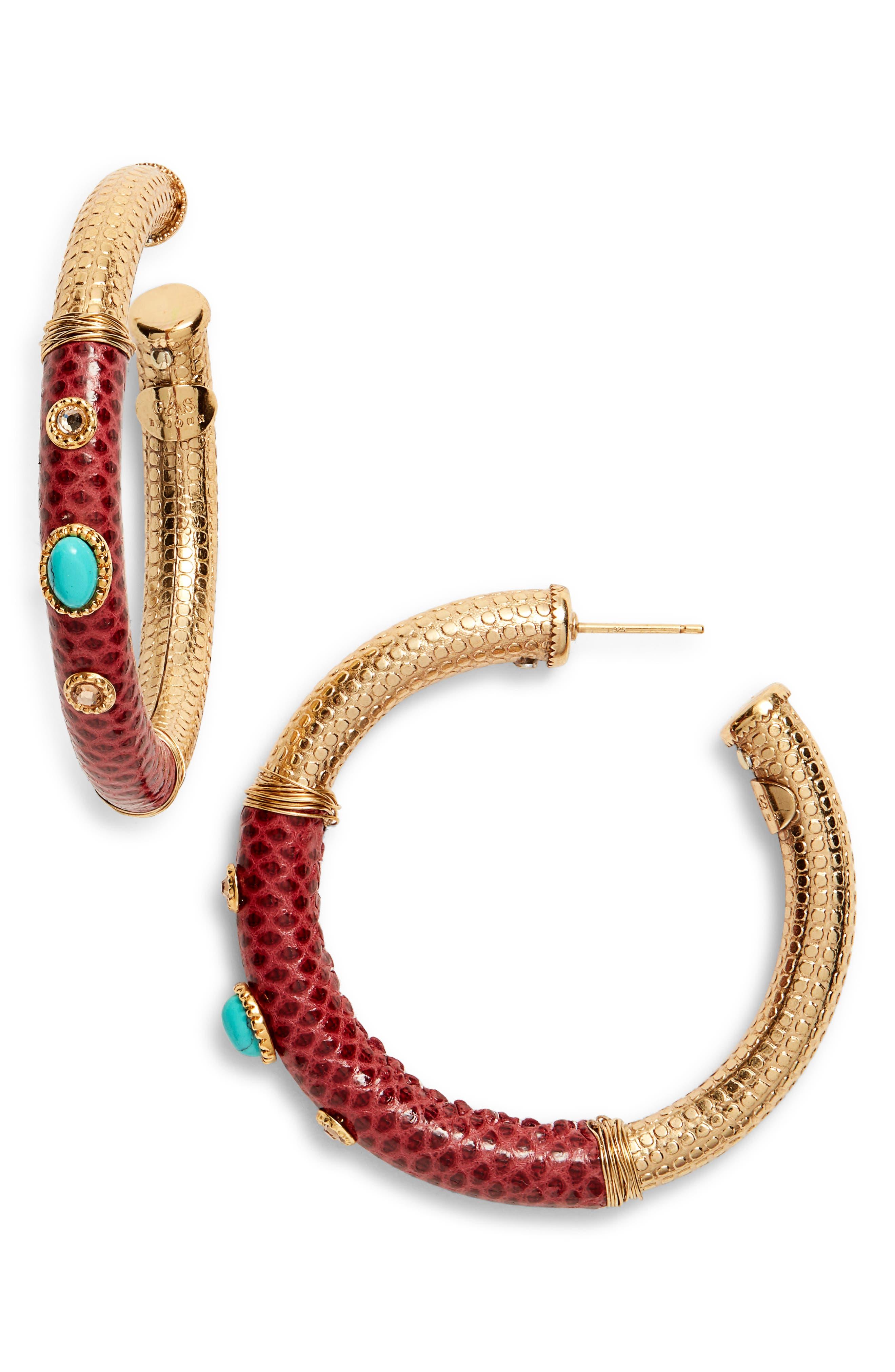 Hoop Earrings,                             Main thumbnail 1, color,                             RED