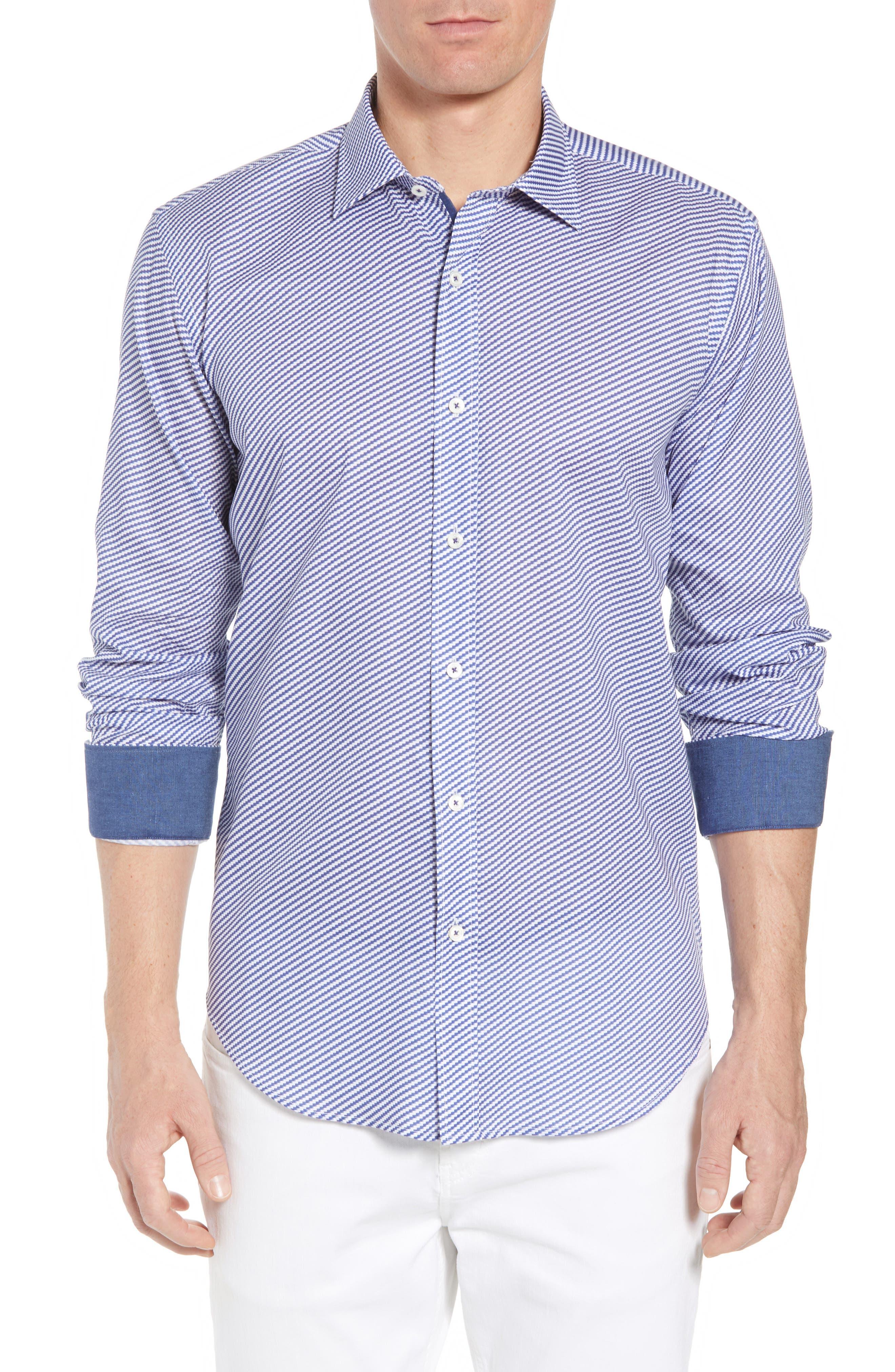 Shaped Fit Optic Print Sport Shirt,                             Main thumbnail 1, color,                             NAVY