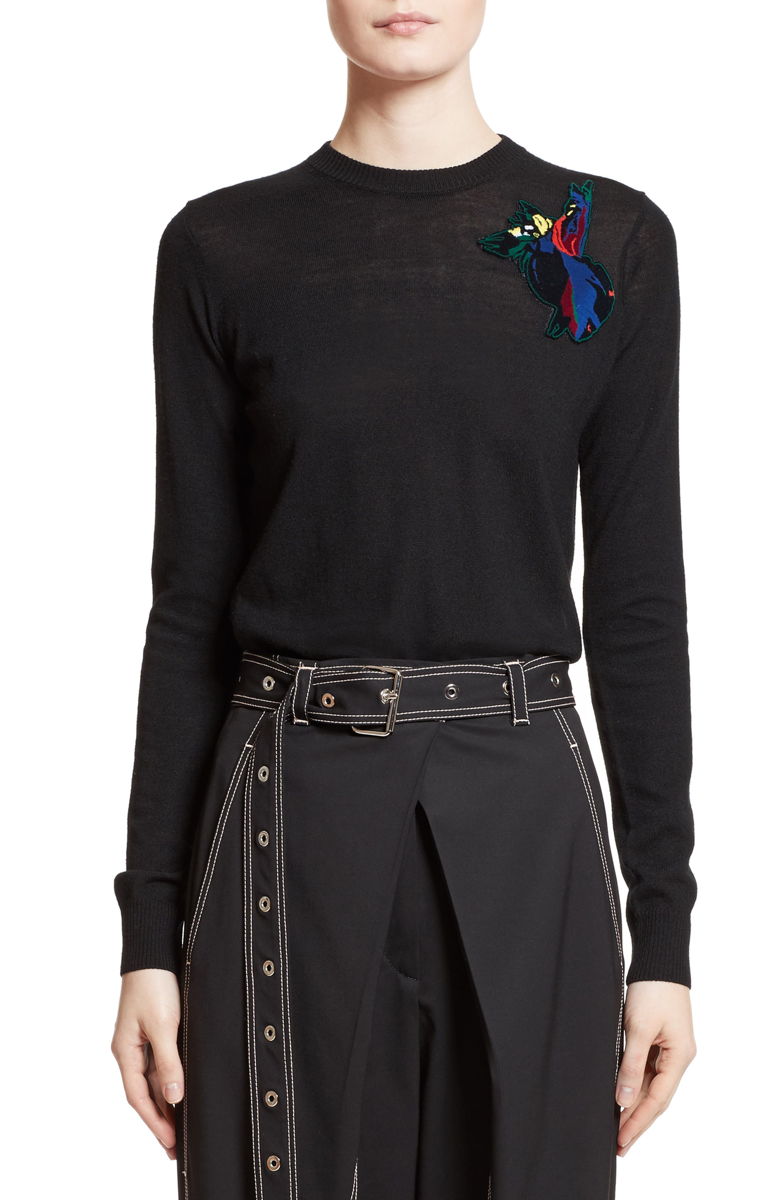 Patch Embellished Wool Sweater,                         Main,                         color, 001