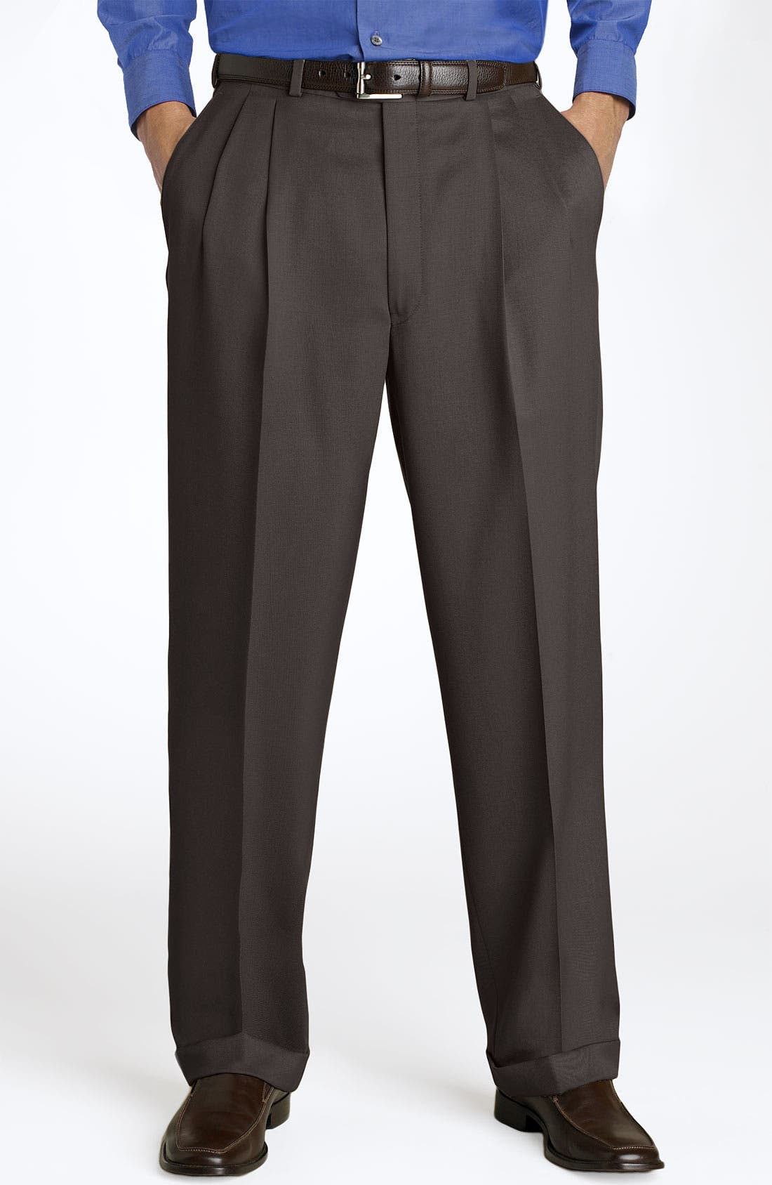 Pleated Super 100s Worsted Wool Trousers,                             Main thumbnail 8, color,