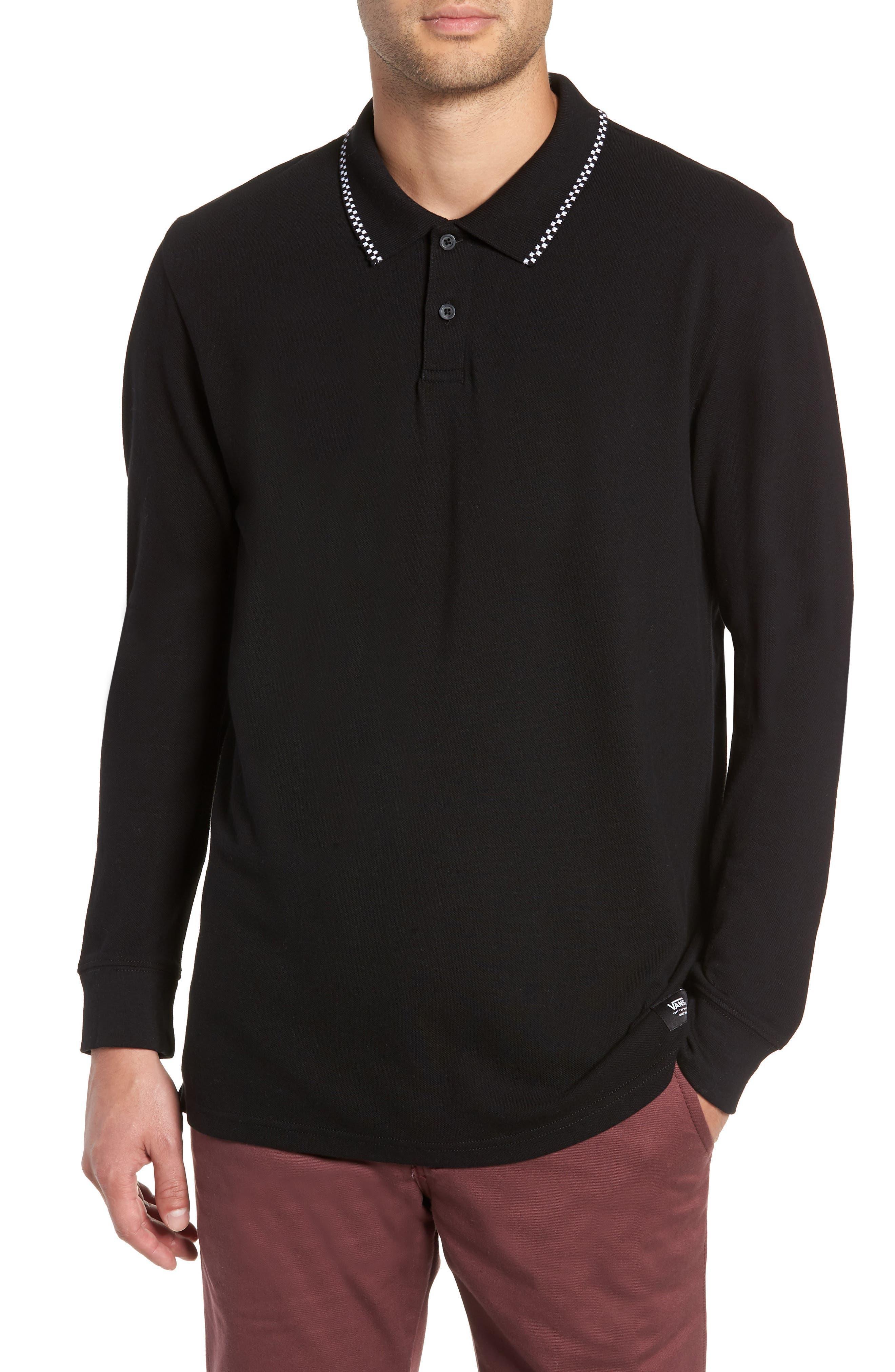 Check Tip Long Sleeve Piqué Polo,                         Main,                         color, BLACK