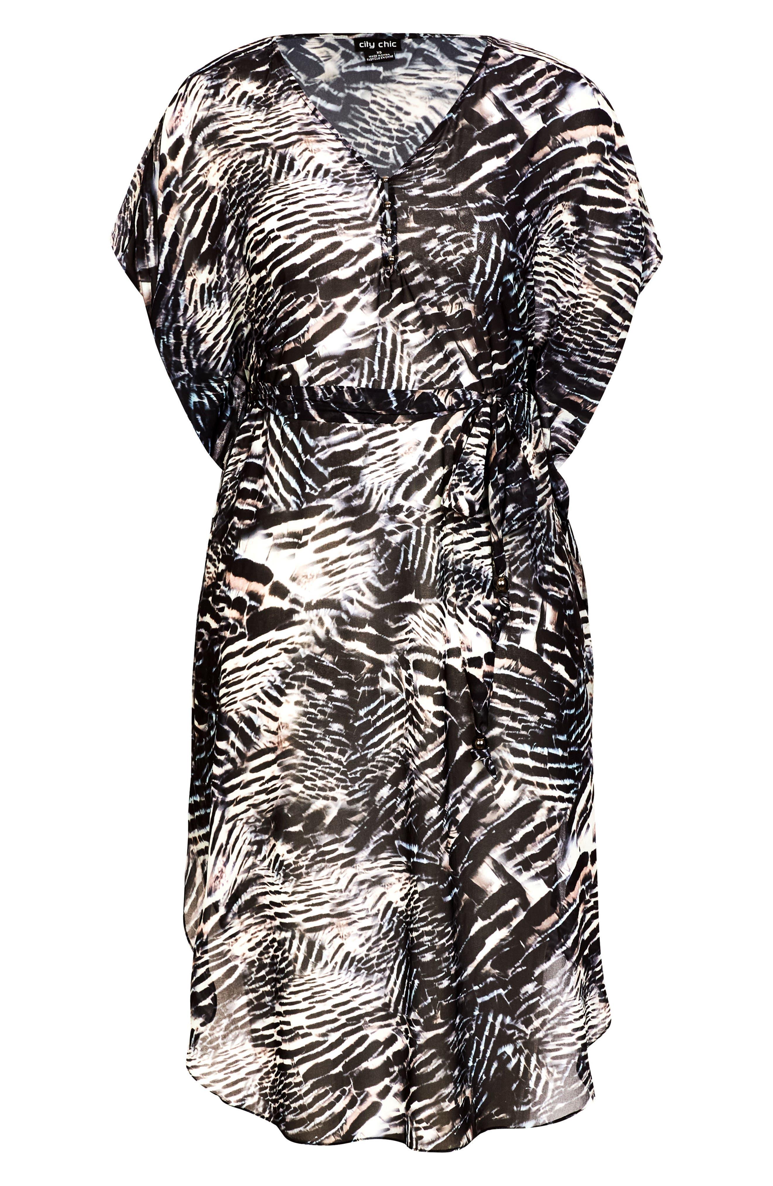 Sahara Caftan Dress,                             Alternate thumbnail 3, color,                             BLACK PRINT