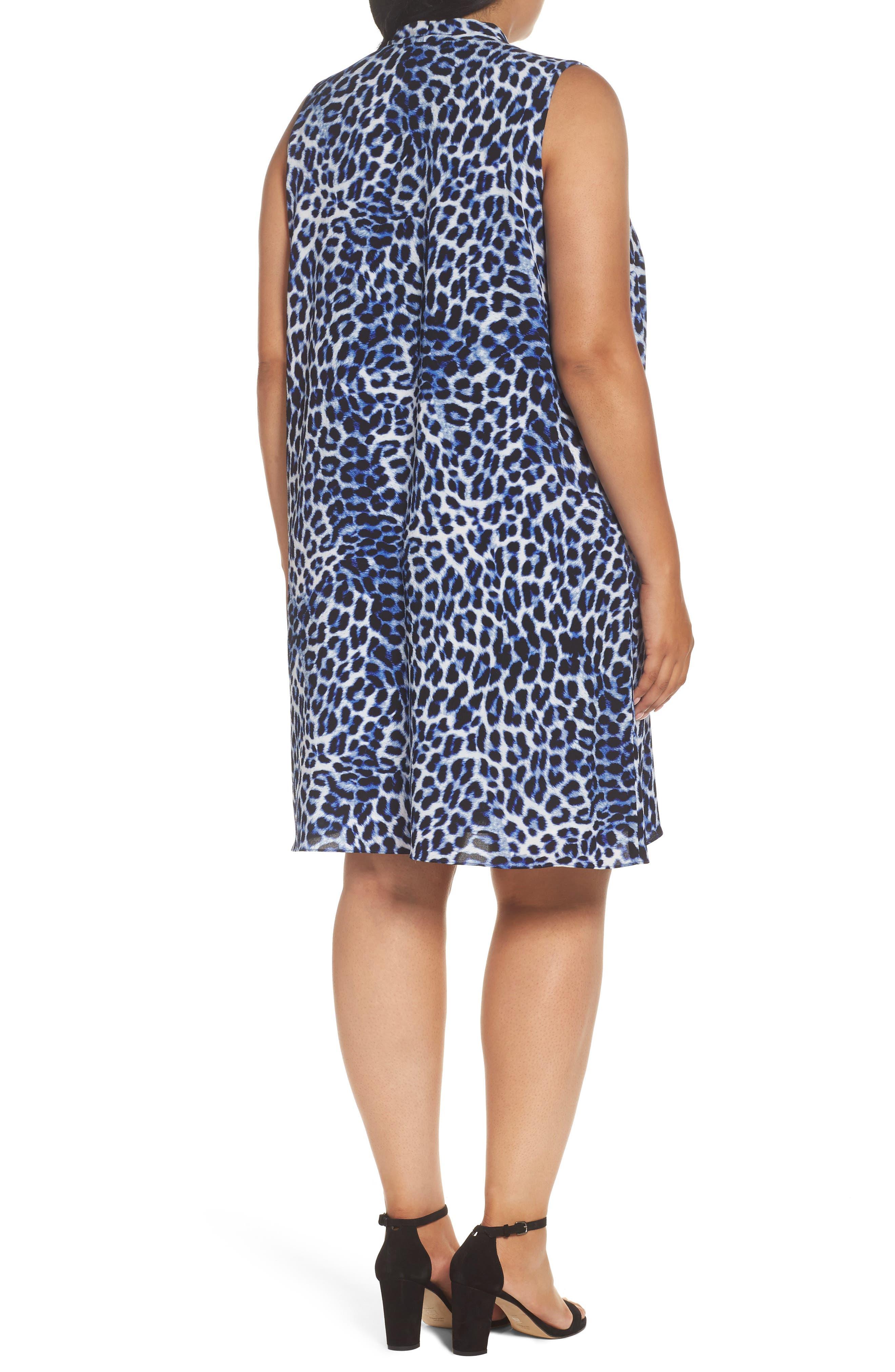 Leopard Song Inverted Pleat Shift Dress,                             Alternate thumbnail 2, color,