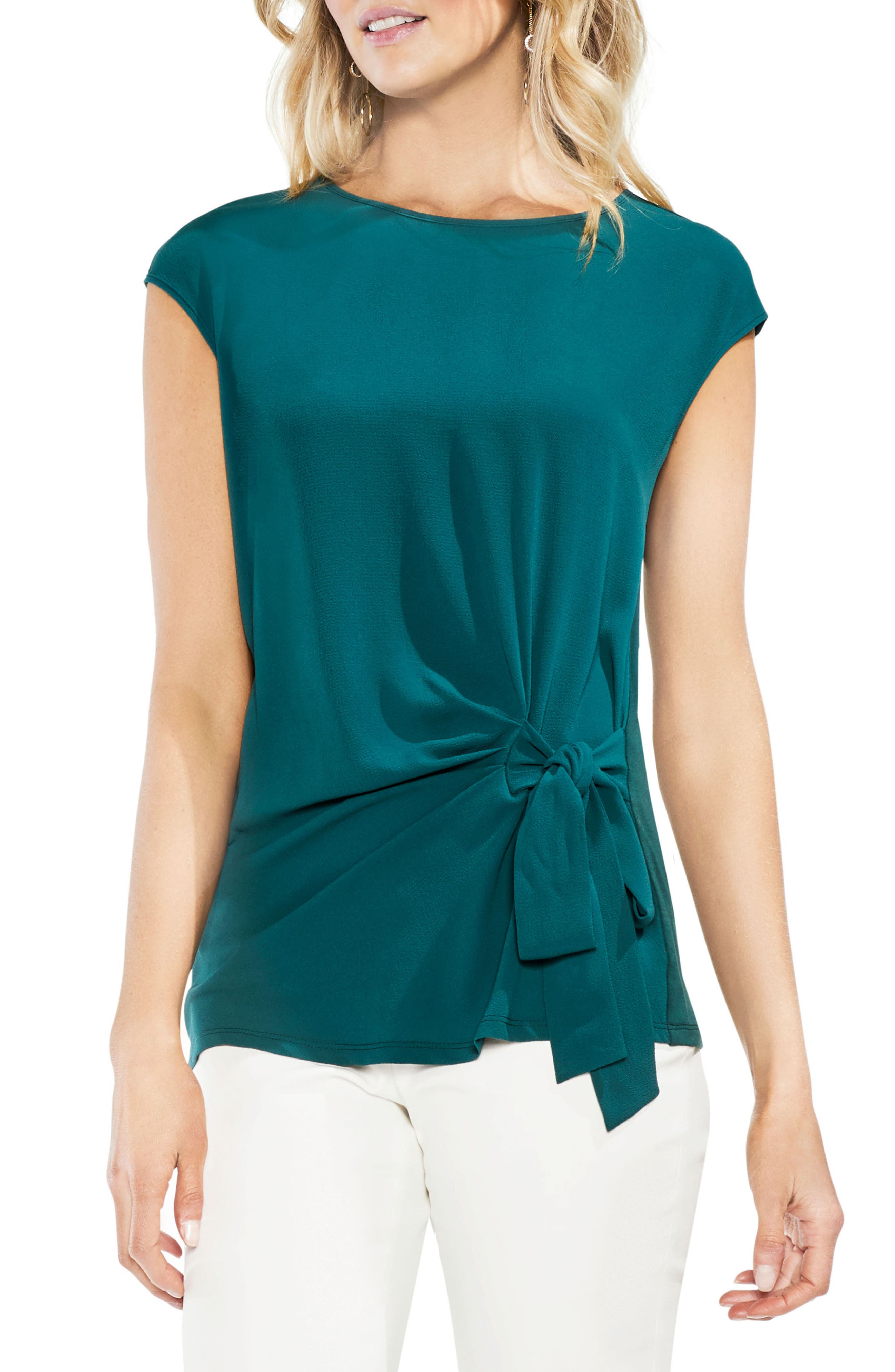 Side Tie Ruched Stretch Crepe Top,                             Main thumbnail 1, color,                             VERDANT GREEN