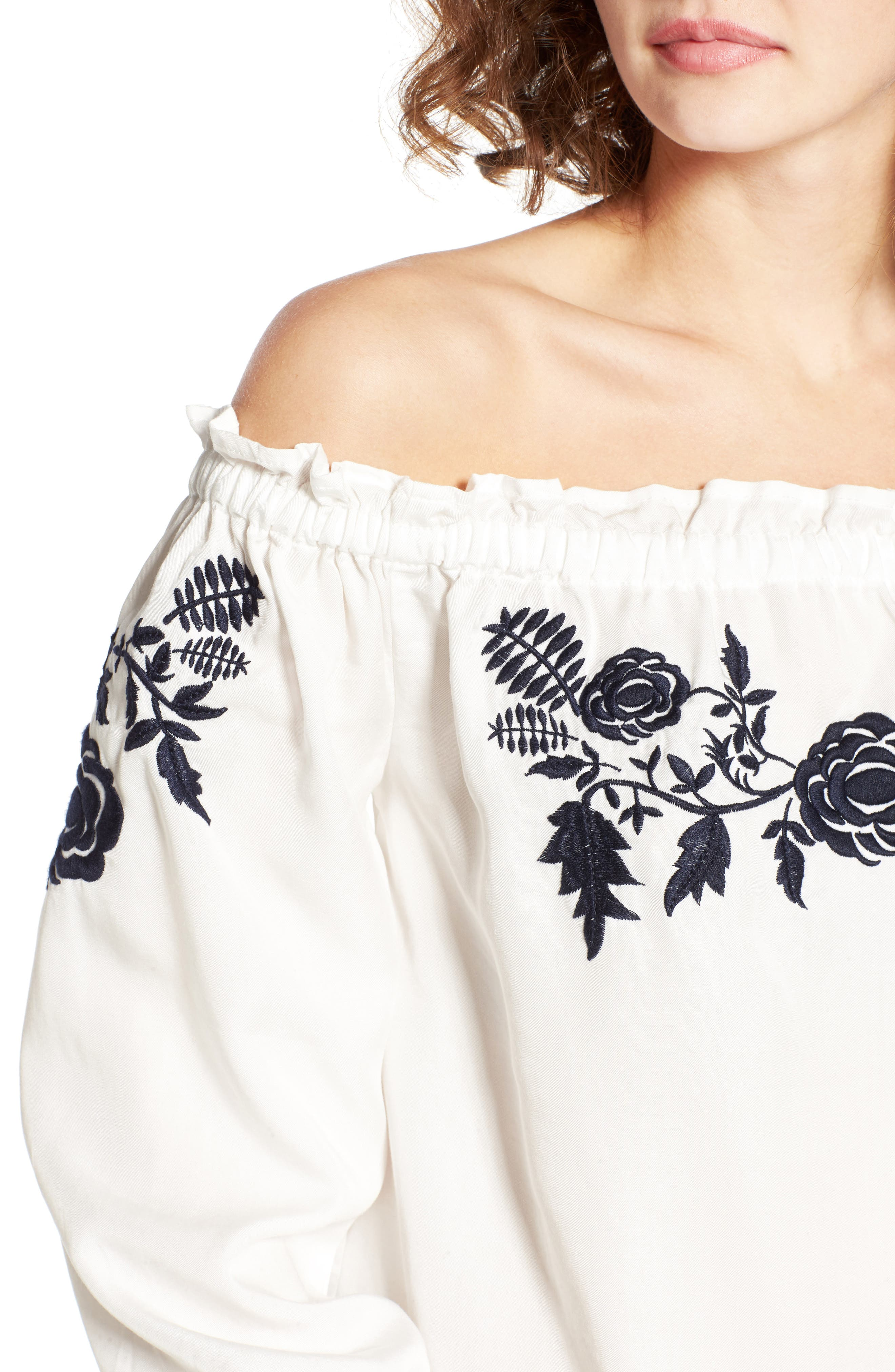 Embroidered Off the Shoulder Top,                             Alternate thumbnail 5, color,                             100