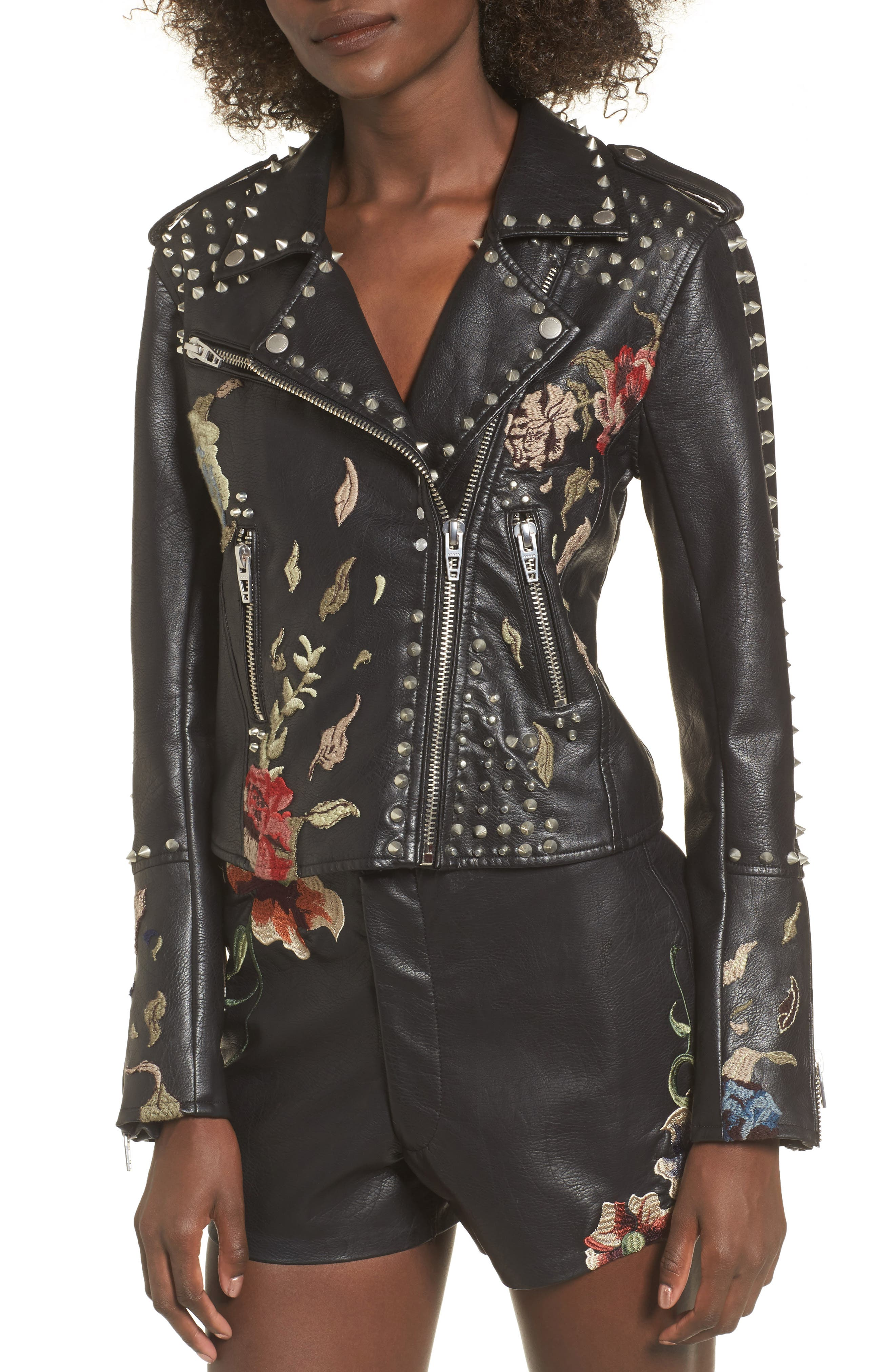 Embroidered Studded Moto Jacket,                             Alternate thumbnail 4, color,                             001