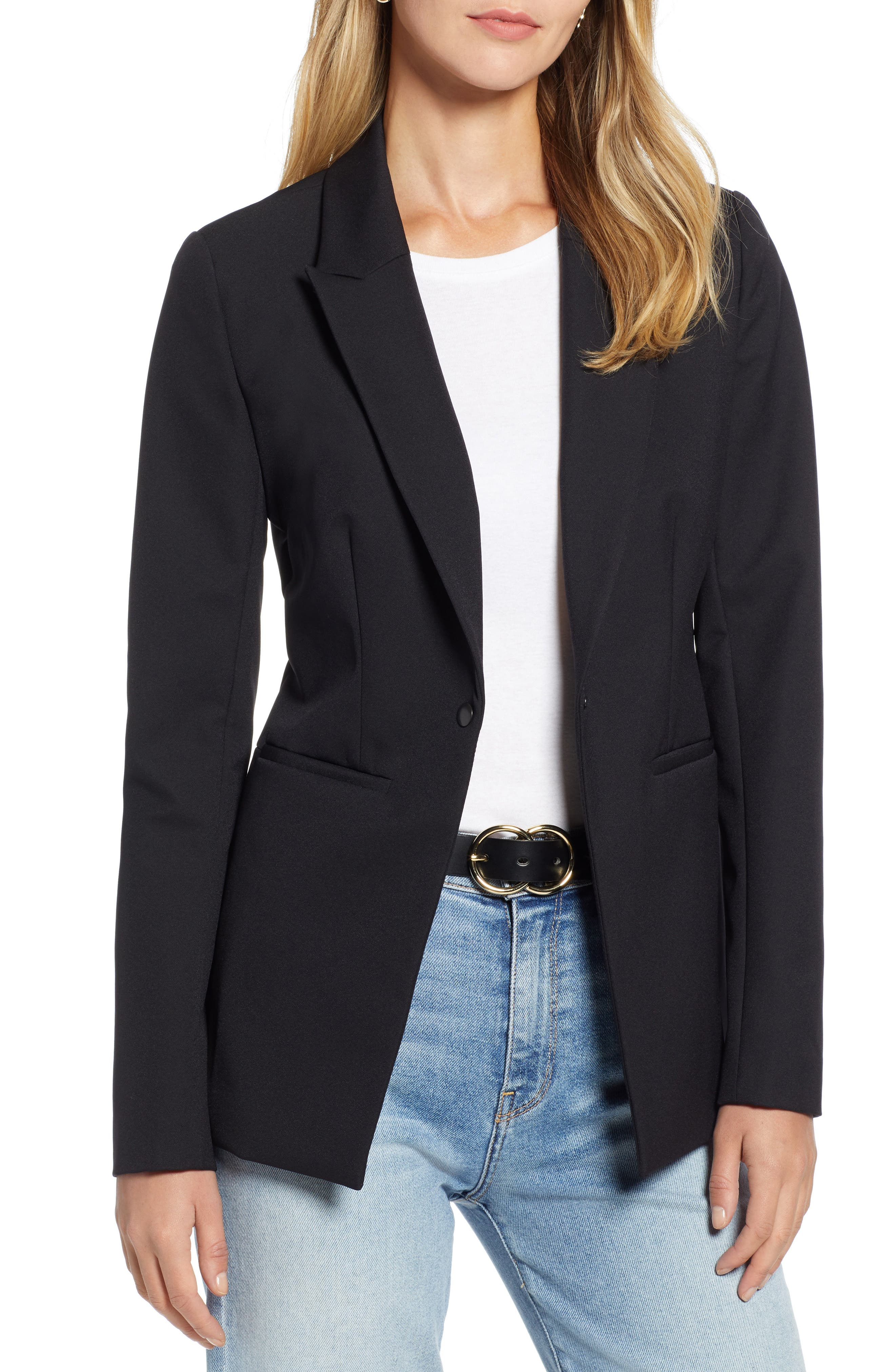 Fitted Blazer,                             Main thumbnail 1, color,                             001