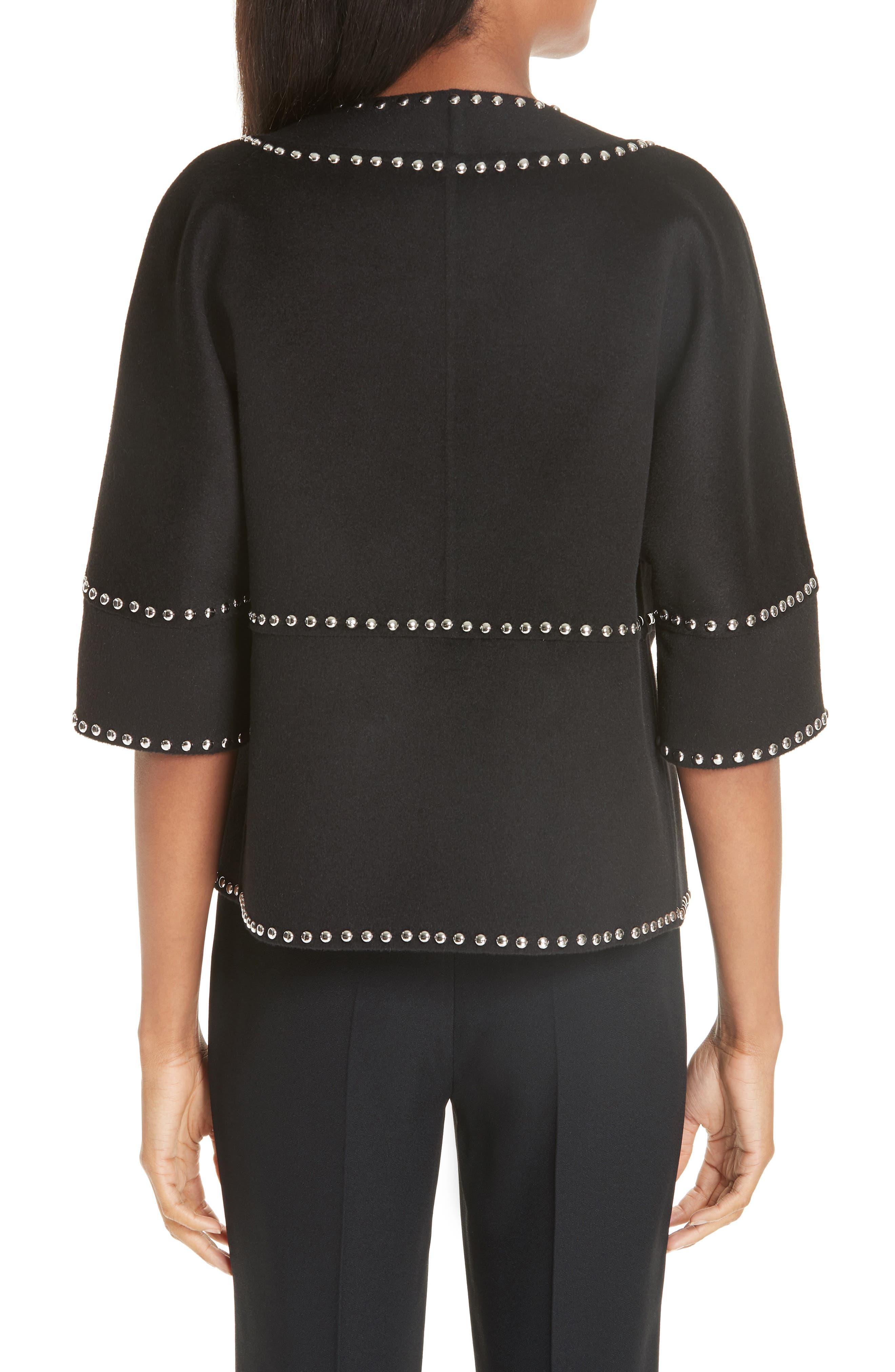 Cookie Studded Wool & Cashgora Jacket,                             Alternate thumbnail 2, color,                             BLACK