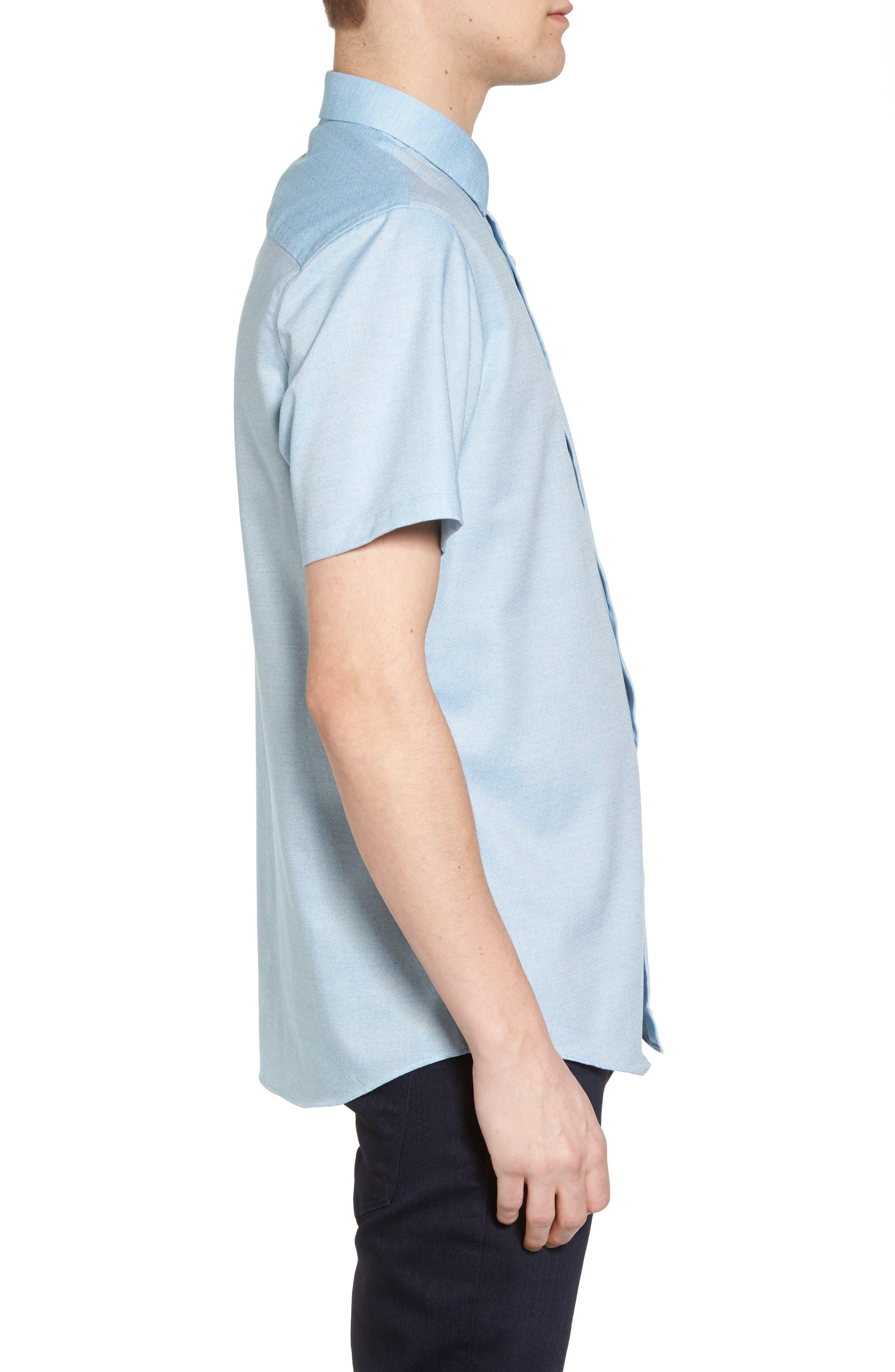 Trim Fit Jaspé Short Sleeve Sport Shirt,                             Alternate thumbnail 8, color,
