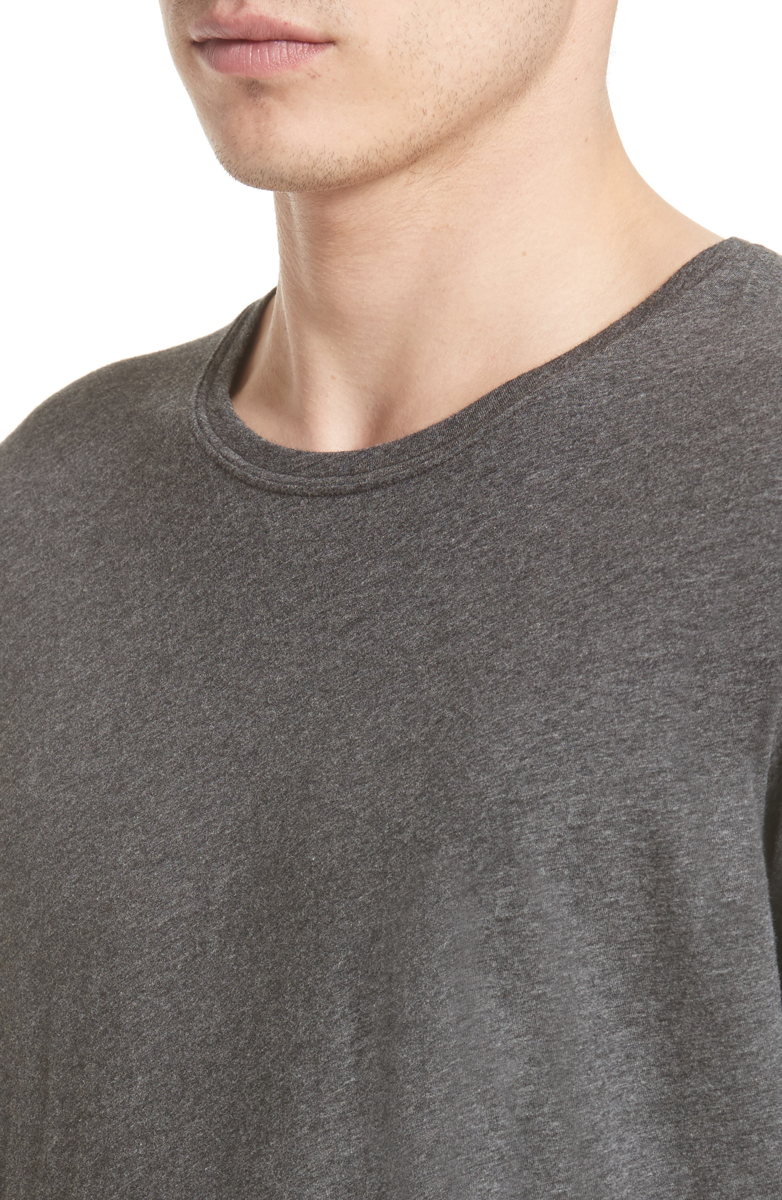 Cotton Crewneck,                             Alternate thumbnail 4, color,                             CHARCOAL