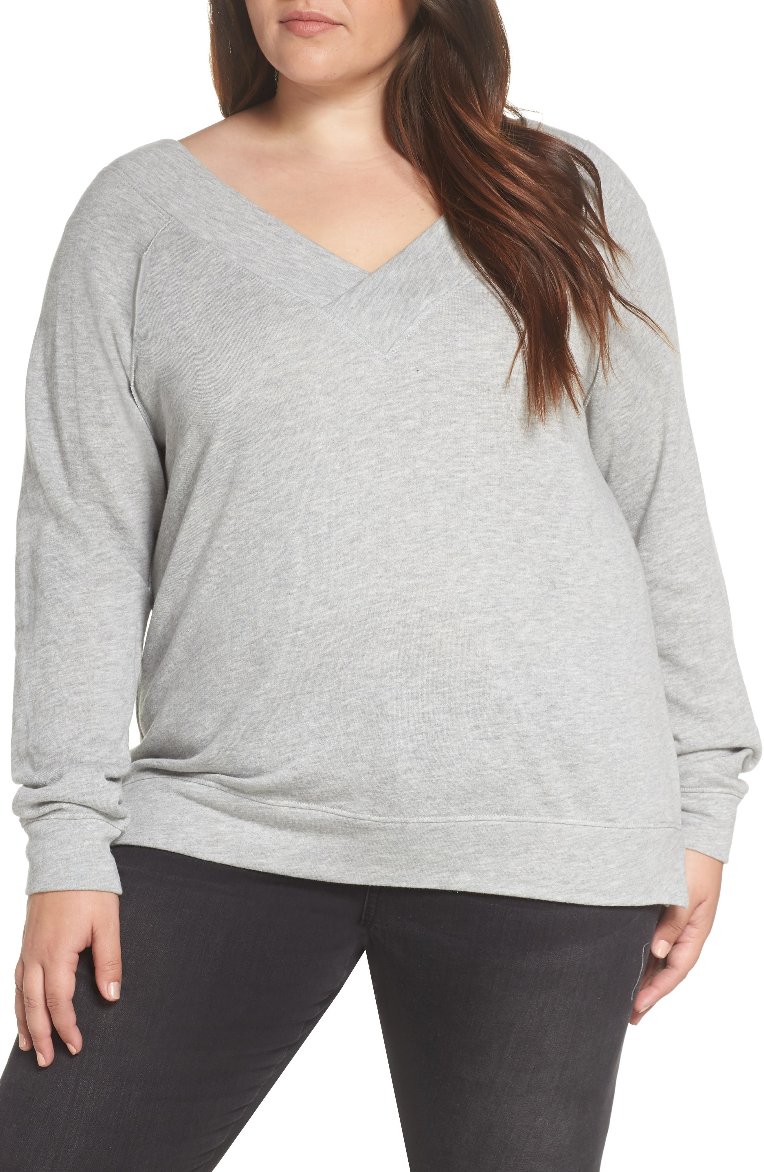 Double V-neck Sweatshirt,                             Alternate thumbnail 2, color,                             GREY PEARL HEATHER
