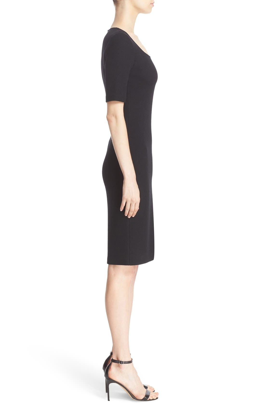 Milano Piqué Knit Scoop Neck Dress,                             Alternate thumbnail 7, color,                             001