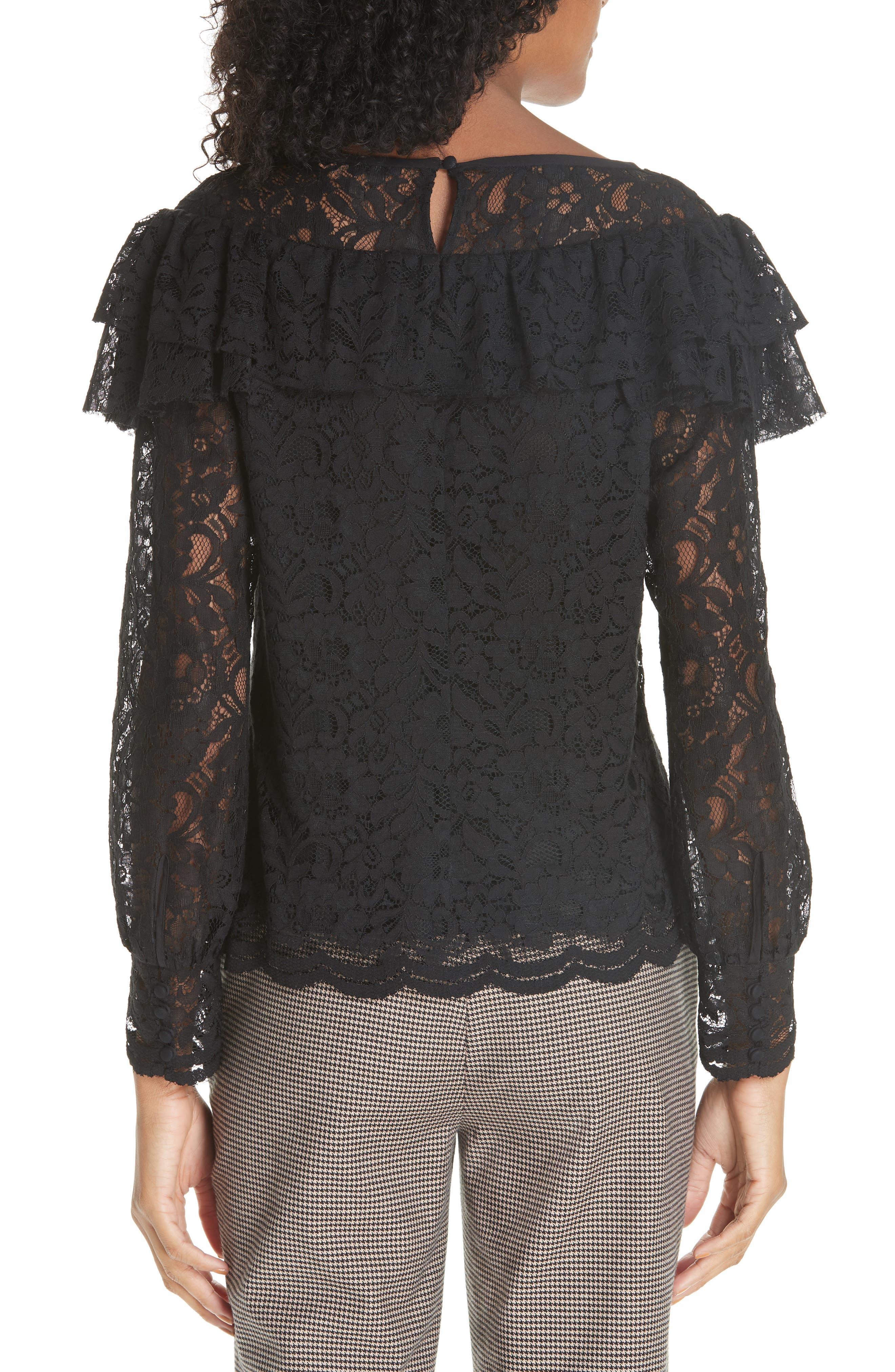 Cotton Blend Lace Ruffle Blouse,                             Alternate thumbnail 2, color,                             001