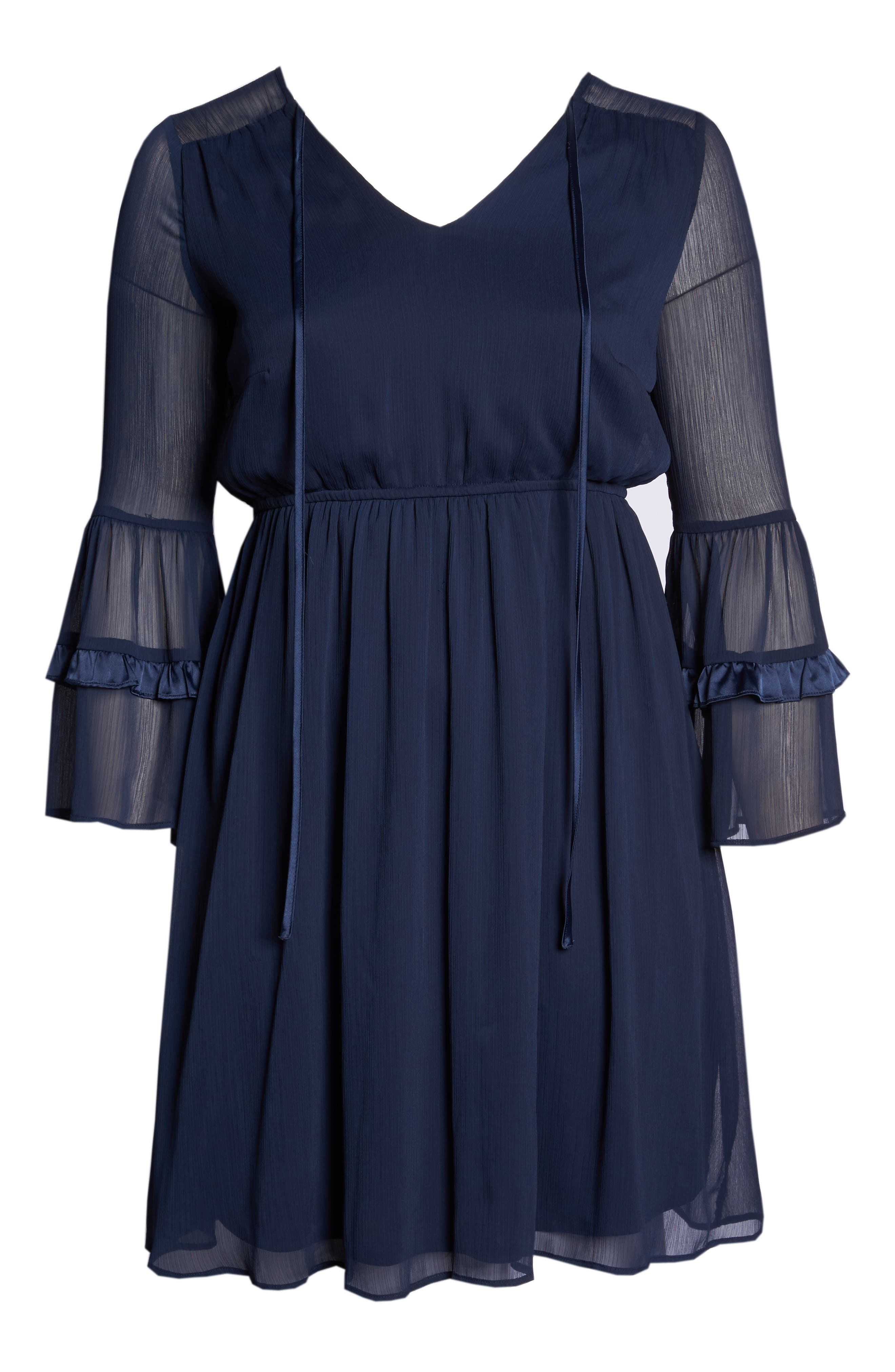 Satin Trim Chiffon Dress,                             Alternate thumbnail 7, color,                             NAVY