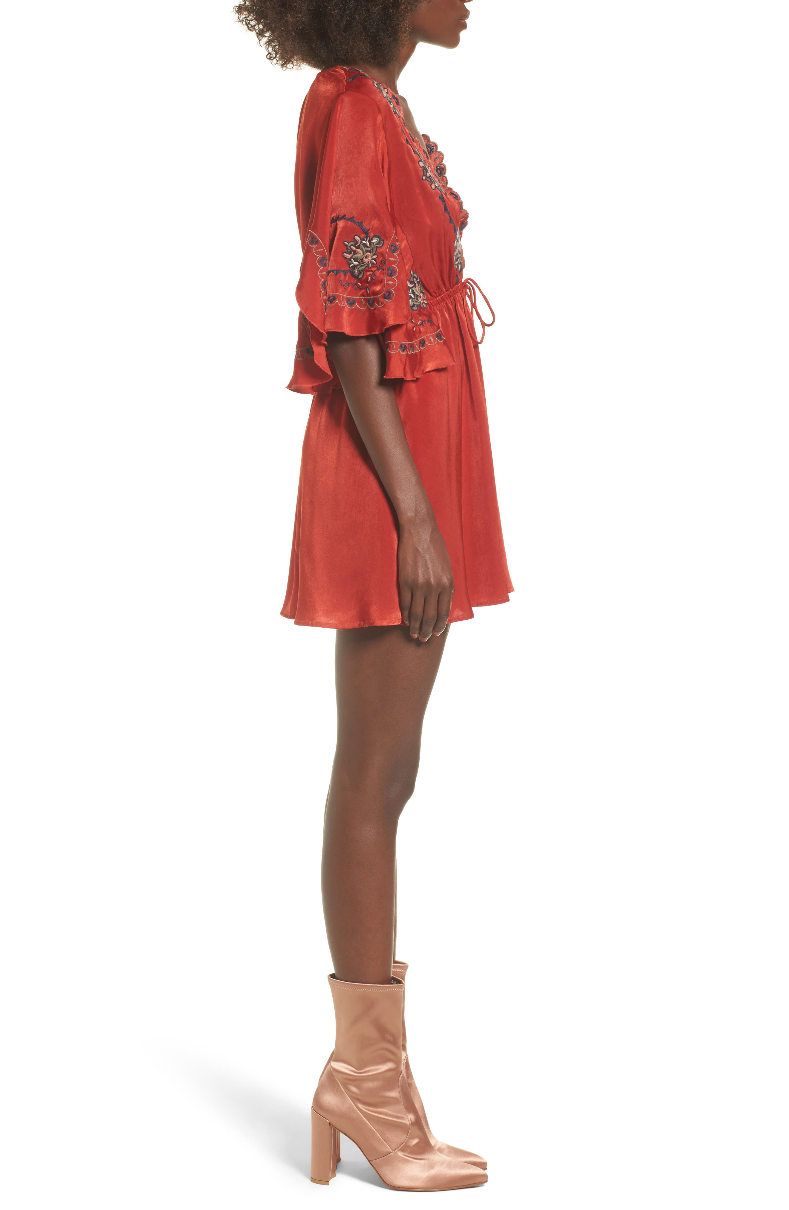Embroidered Babydoll Dress,                             Alternate thumbnail 3, color,                             650