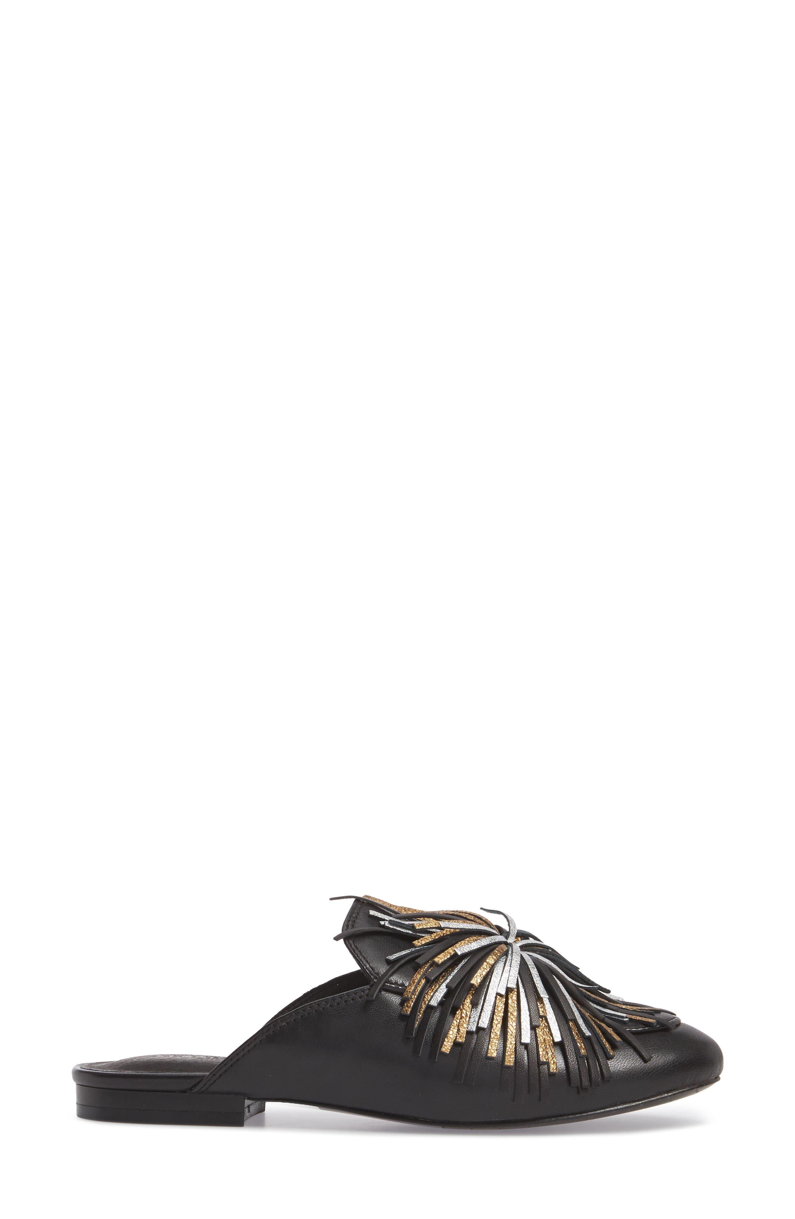 Wallice Firework Fringe Loafer Mule,                             Alternate thumbnail 3, color,                             009